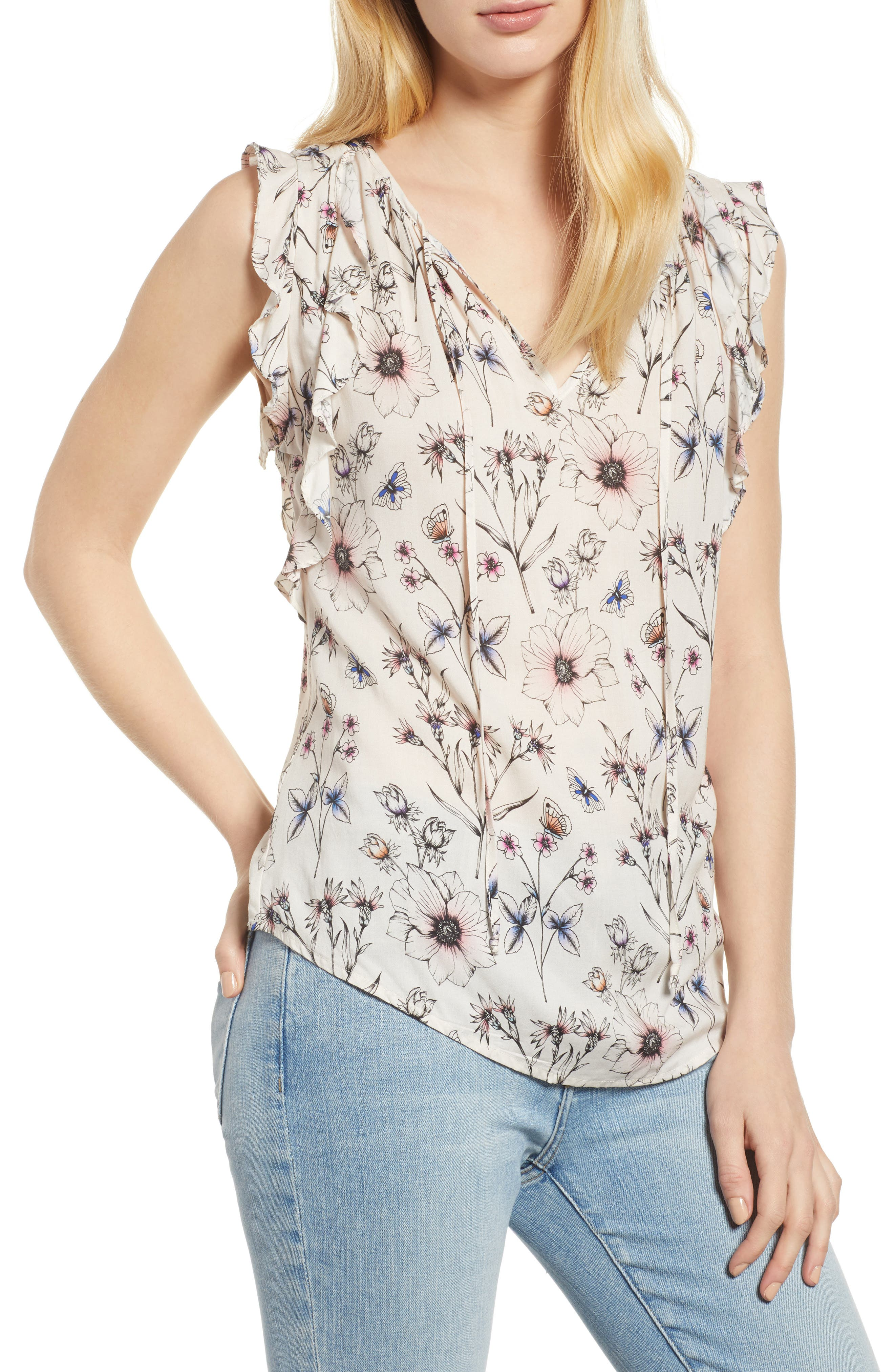 Floral Print Sleeveless Blouse,                         Main,                         color, 900