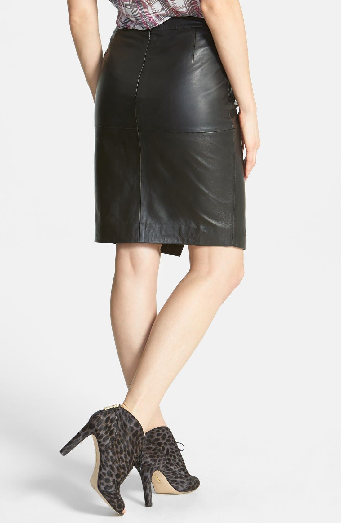 Seamed Leather Pencil Skirt,                             Alternate thumbnail 3, color,                             001
