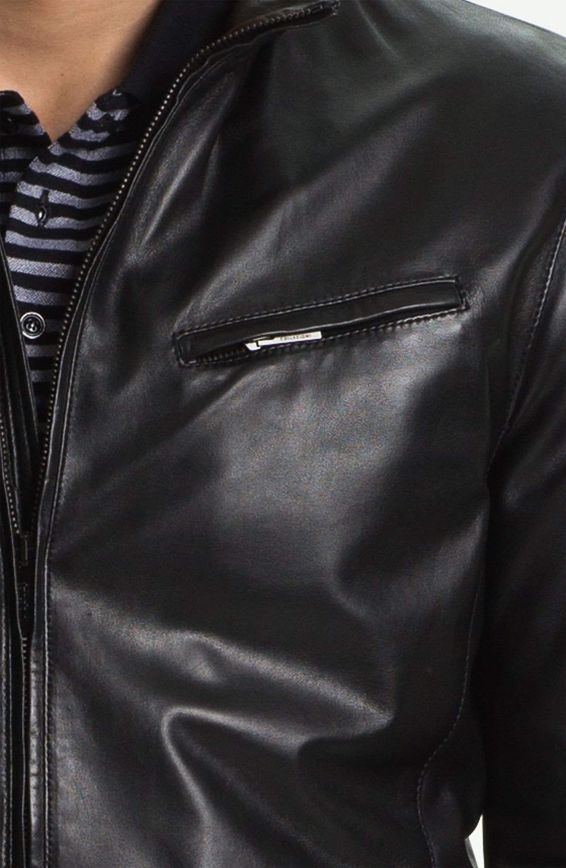 EMPORIO ARMANI,                             Armani Collezioni Blouson Leather Jacket,                             Alternate thumbnail 3, color,                             001