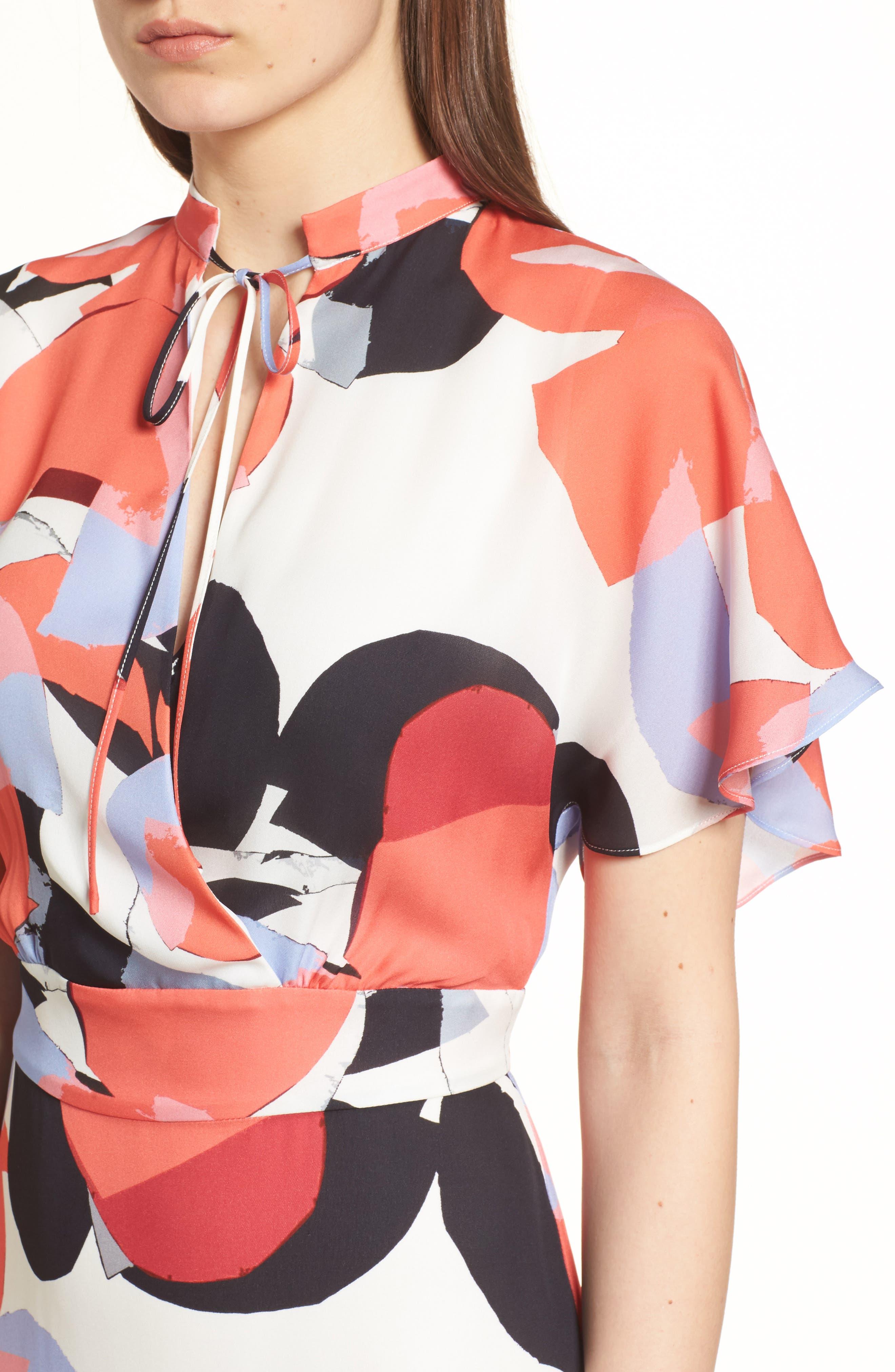 Natalie Silk Dress,                             Alternate thumbnail 4, color,