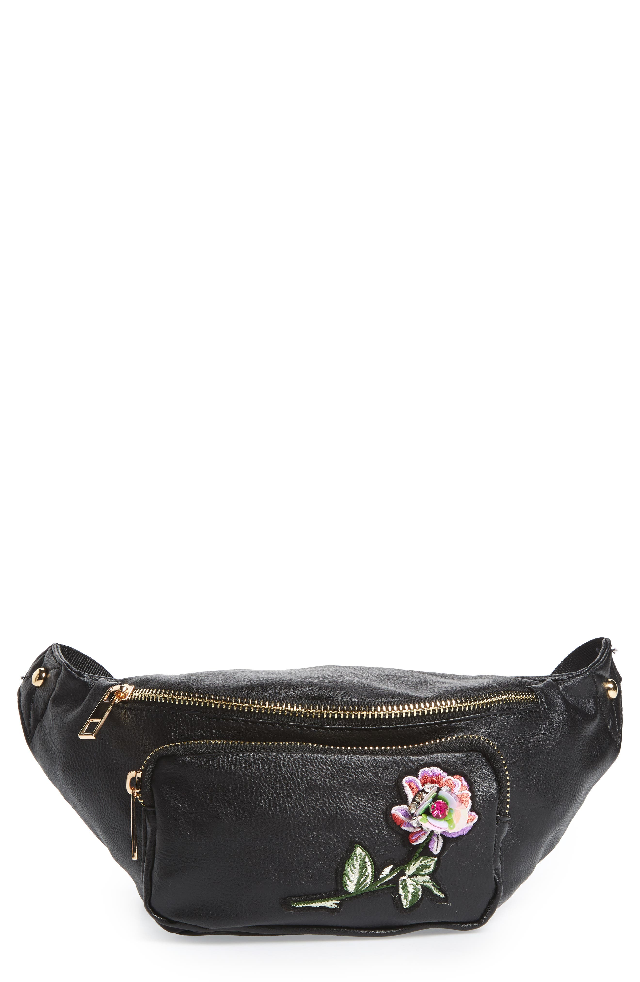 Embroidered Faux Leather Fanny Pack,                             Main thumbnail 1, color,