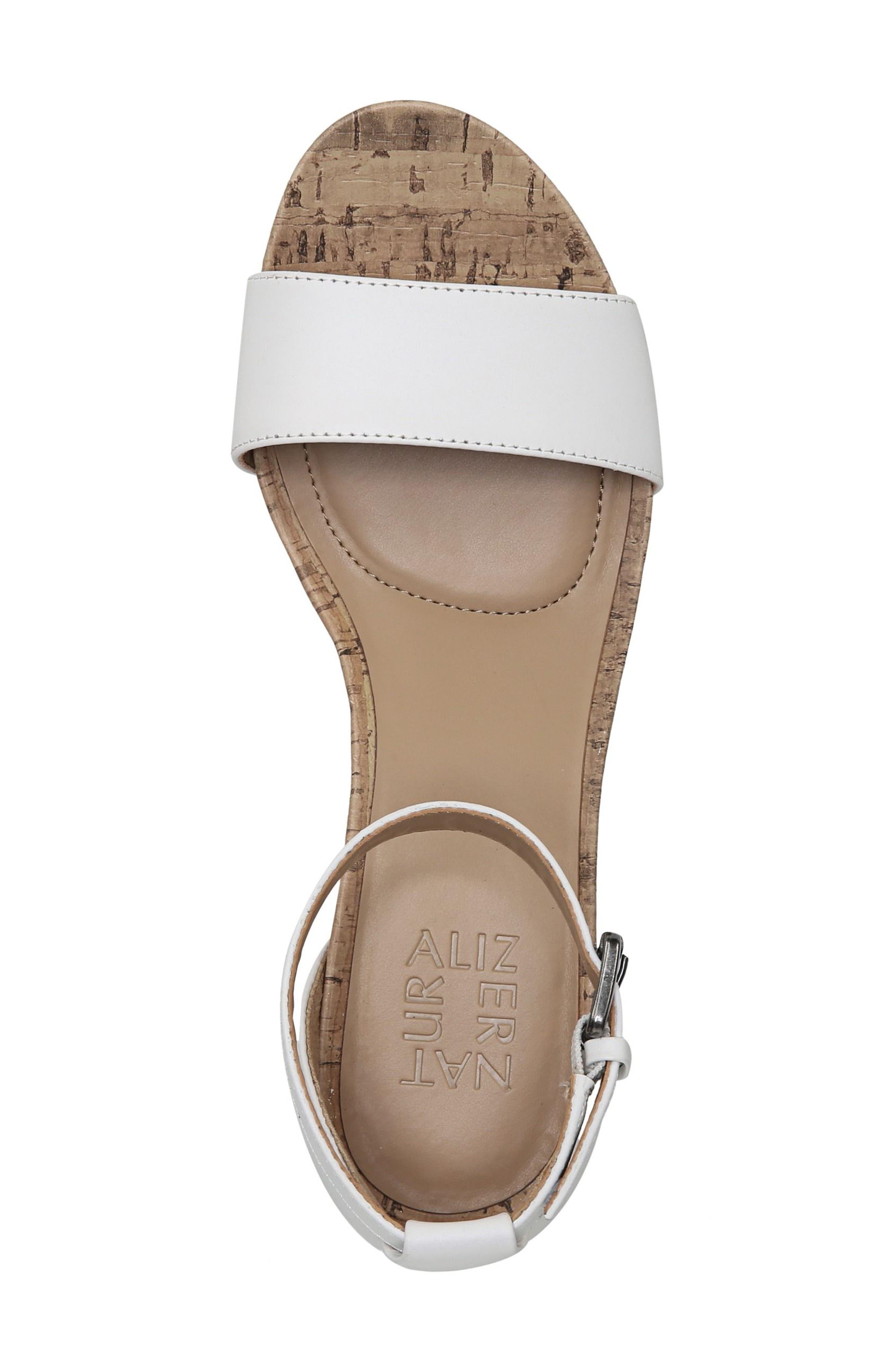Cami Wedge Sandal,                             Alternate thumbnail 6, color,                             WHITE LEATHER