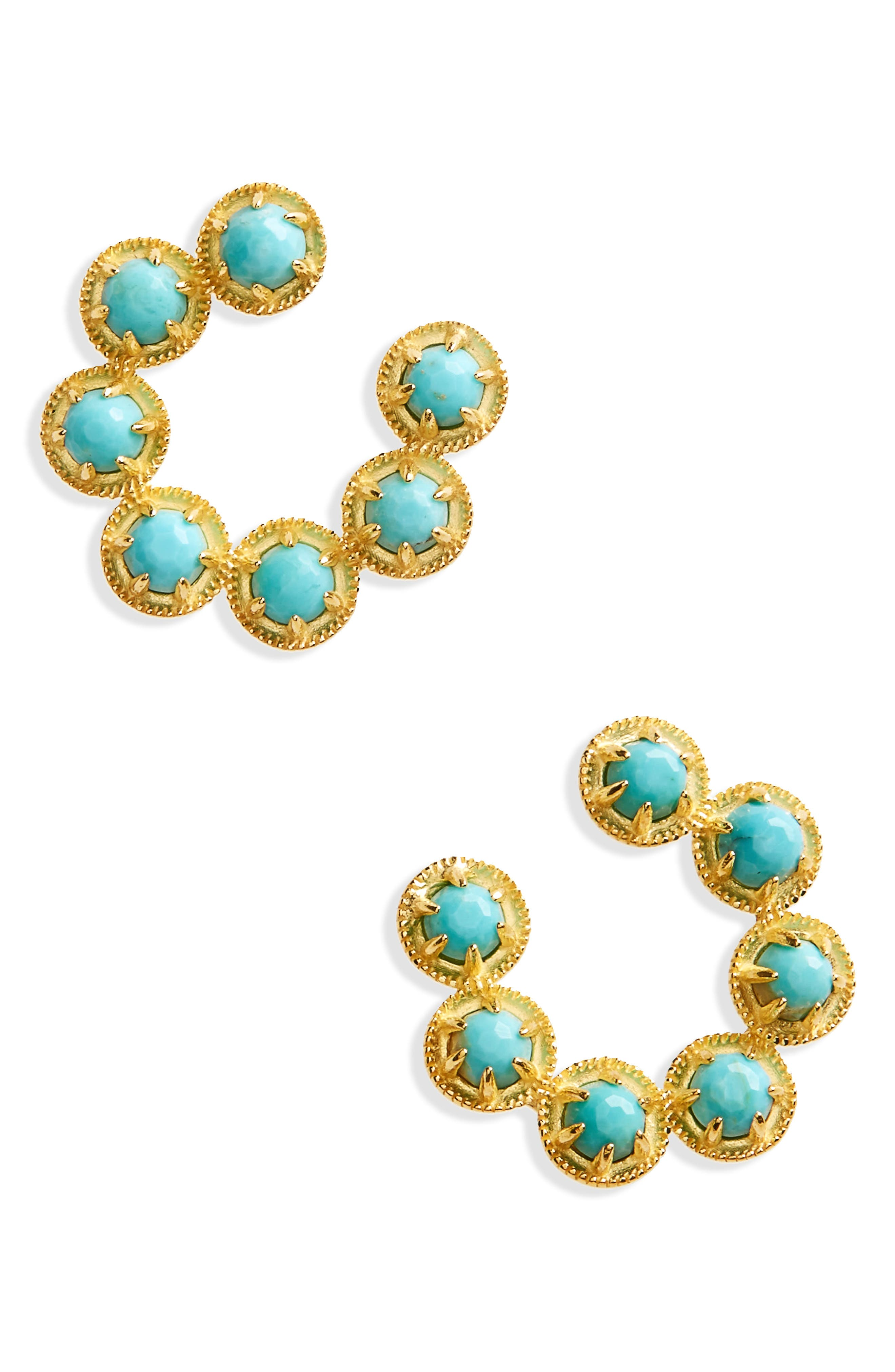 Cleo Vermeil Hoop Earrings,                             Main thumbnail 1, color,                             TURQUOISE/ GOLD