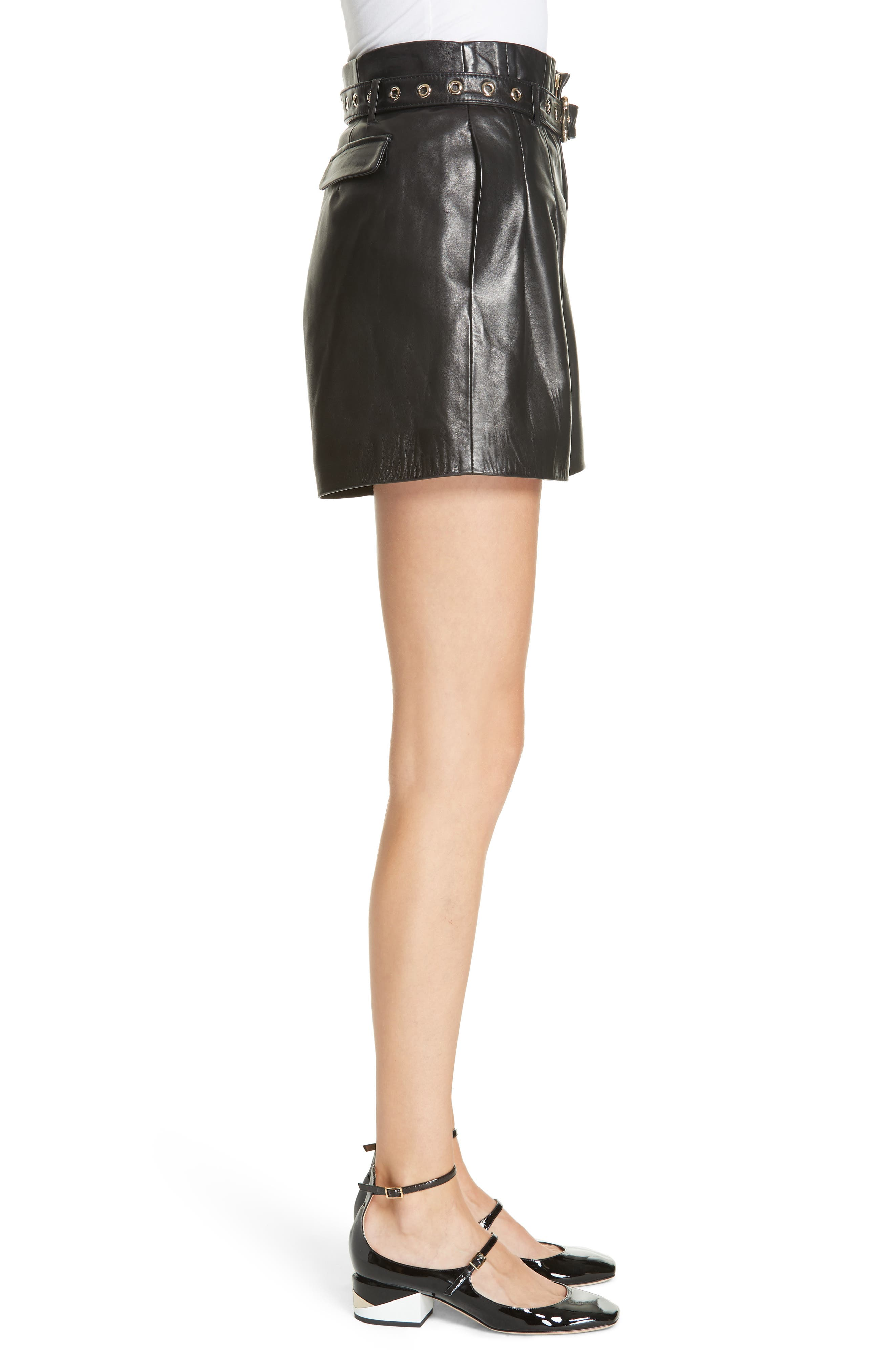 Belted Leather Shorts,                             Alternate thumbnail 3, color,                             BLACK