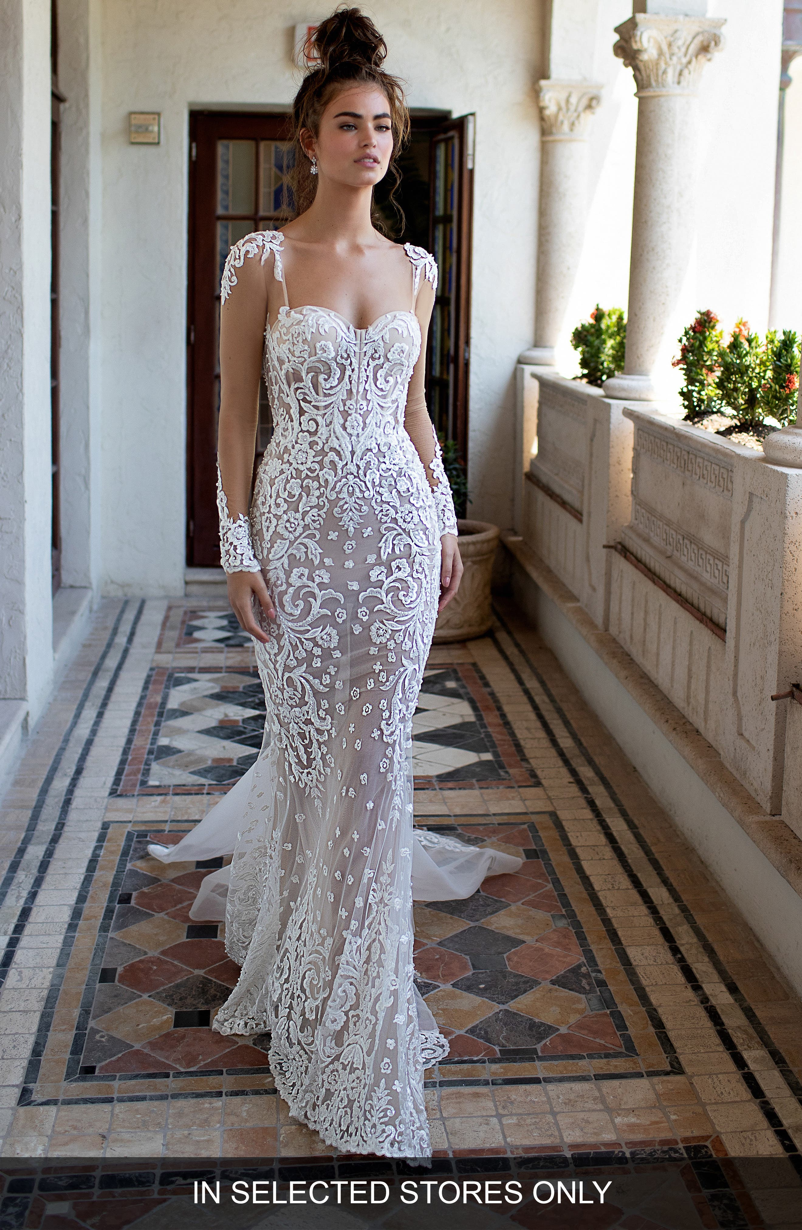 Illusion Sleeve Embroidered Trumpet Gown,                             Main thumbnail 1, color,                             IVORY