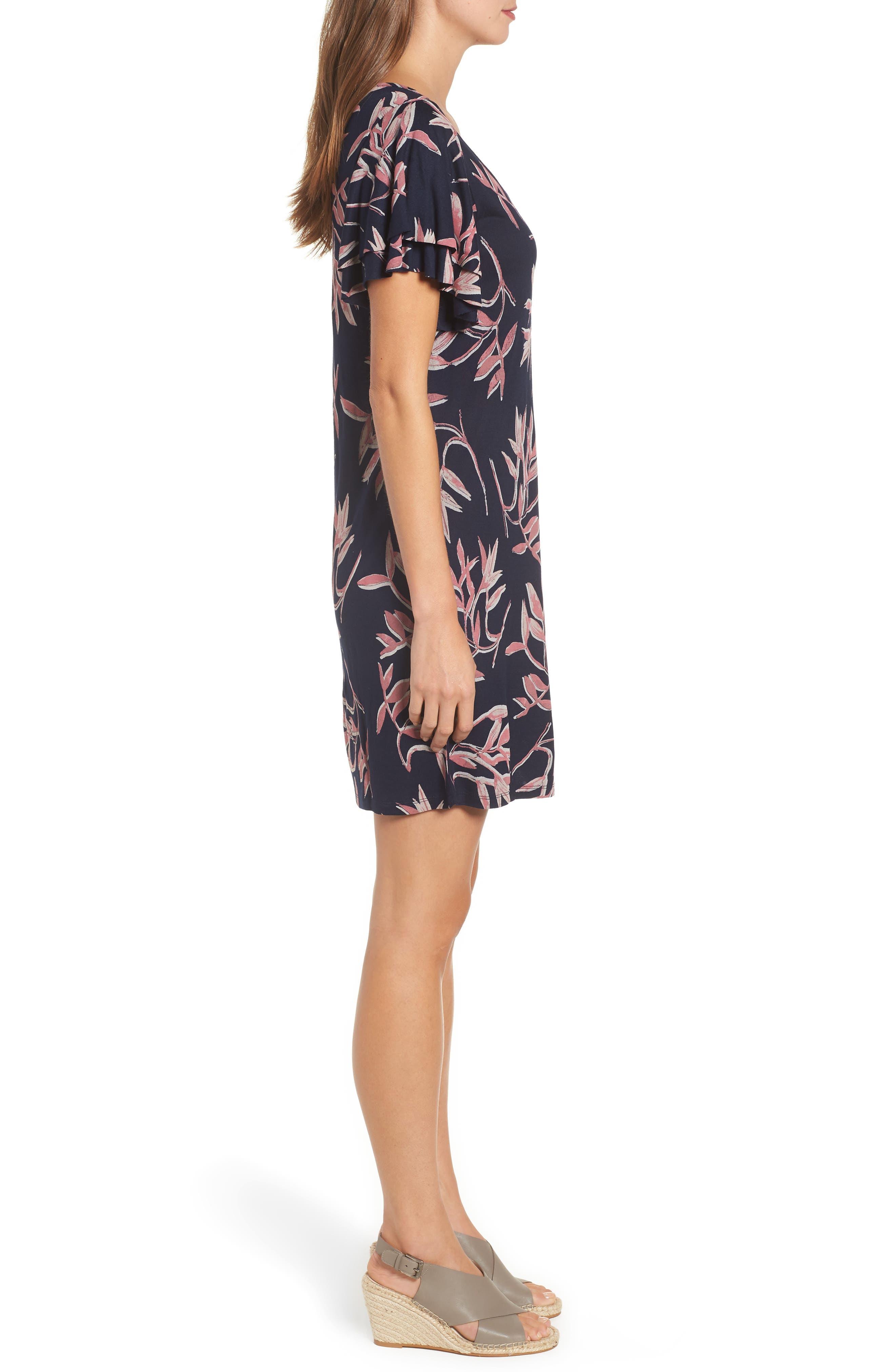 Printed Ruffle Sleeve Dress,                             Alternate thumbnail 3, color,                             490