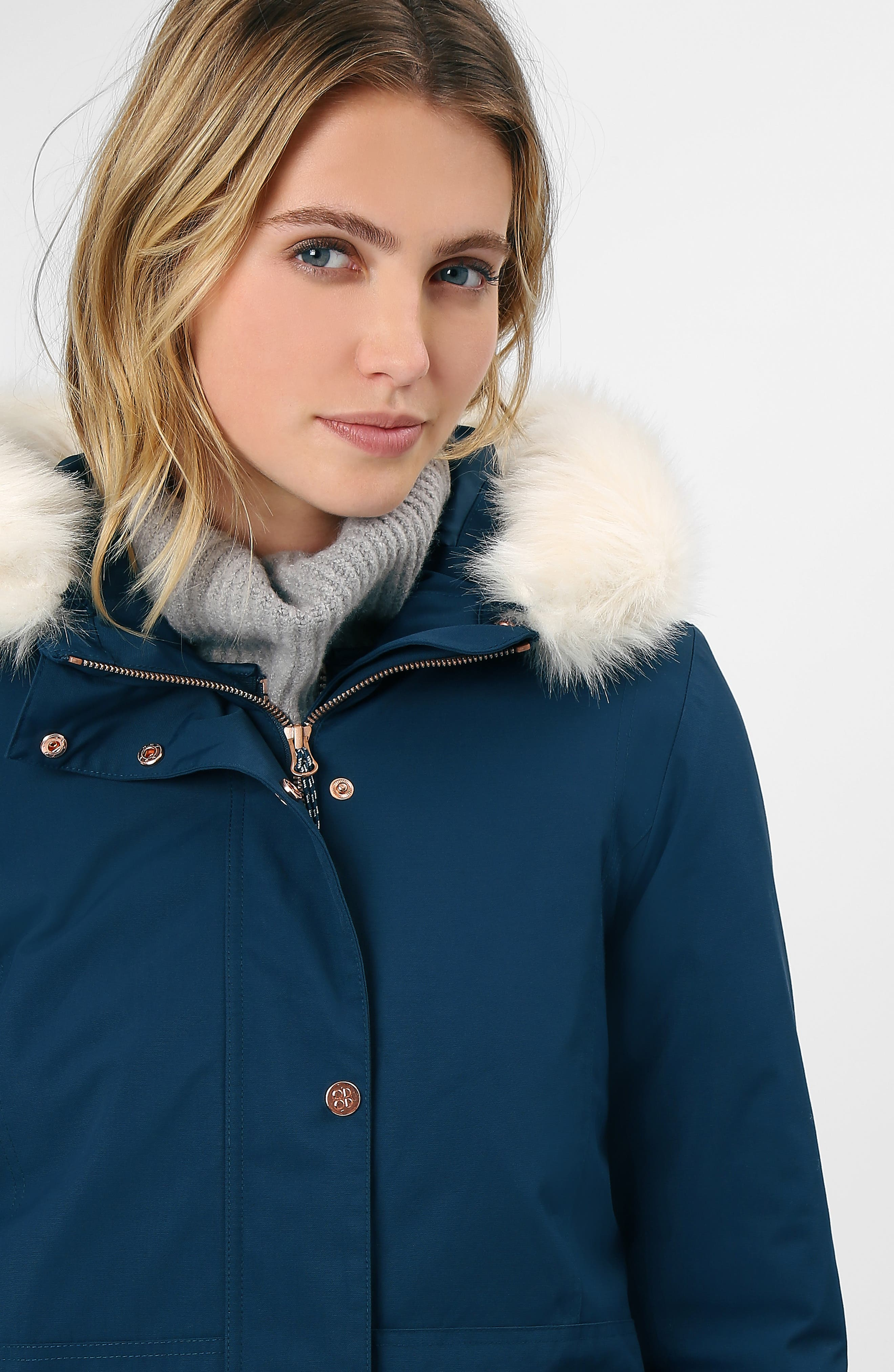 Highlands Three-In-One Faux Fur & Faux Shearling Coat,                             Alternate thumbnail 8, color,                             BEETLE BLUE