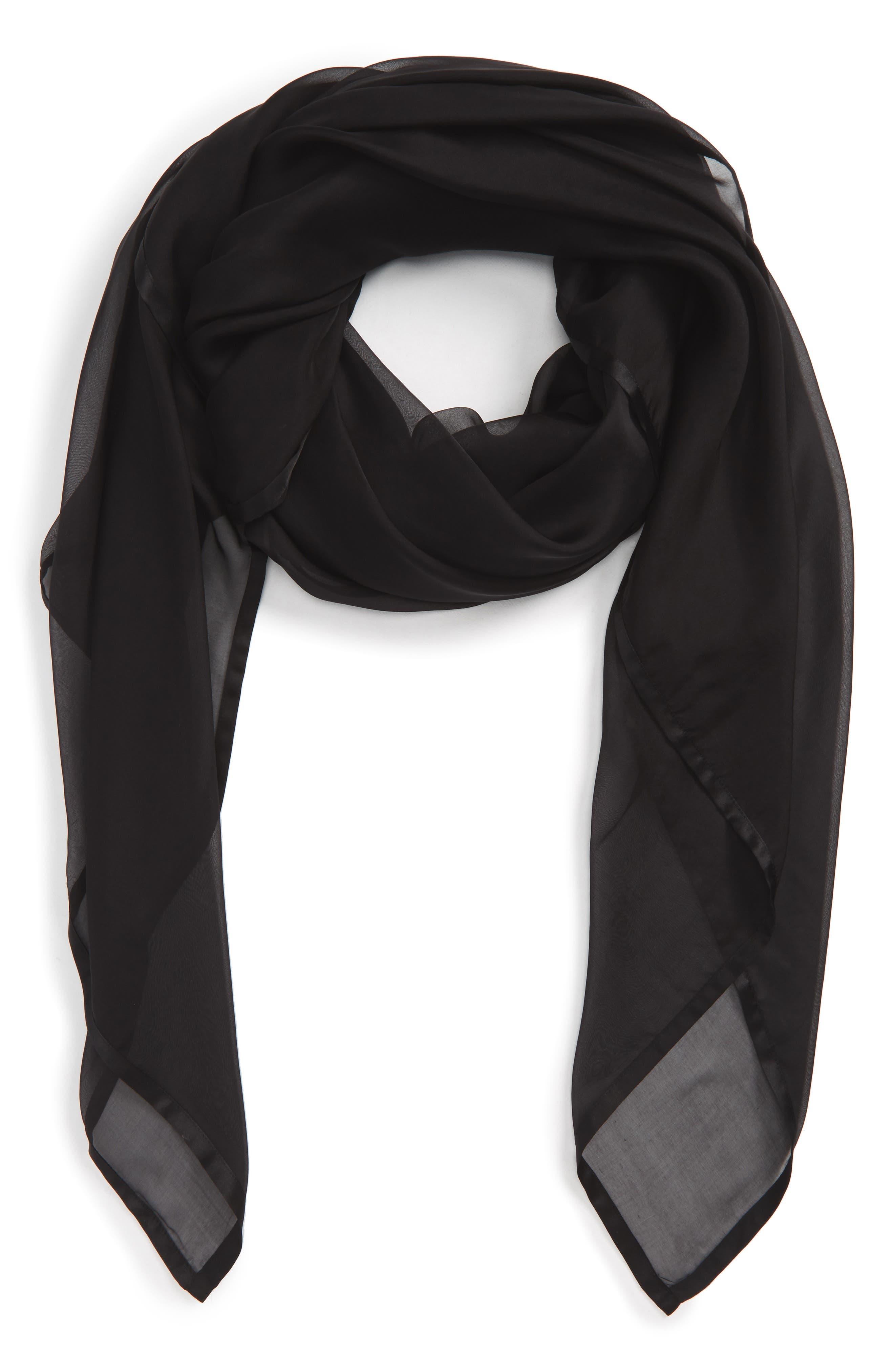 Satin Border Silk Chiffon Scarf,                         Main,                         color, BLACK
