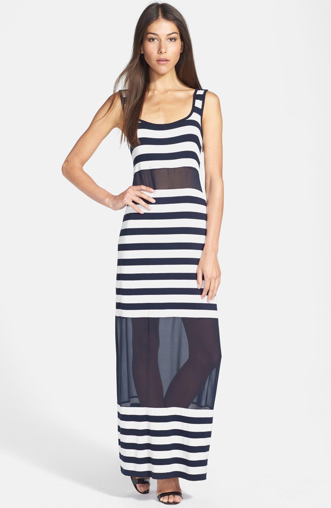 'Tattooed Love Goddess' Stripe Sheer Inset Maxi Dress,                         Main,                         color, 001