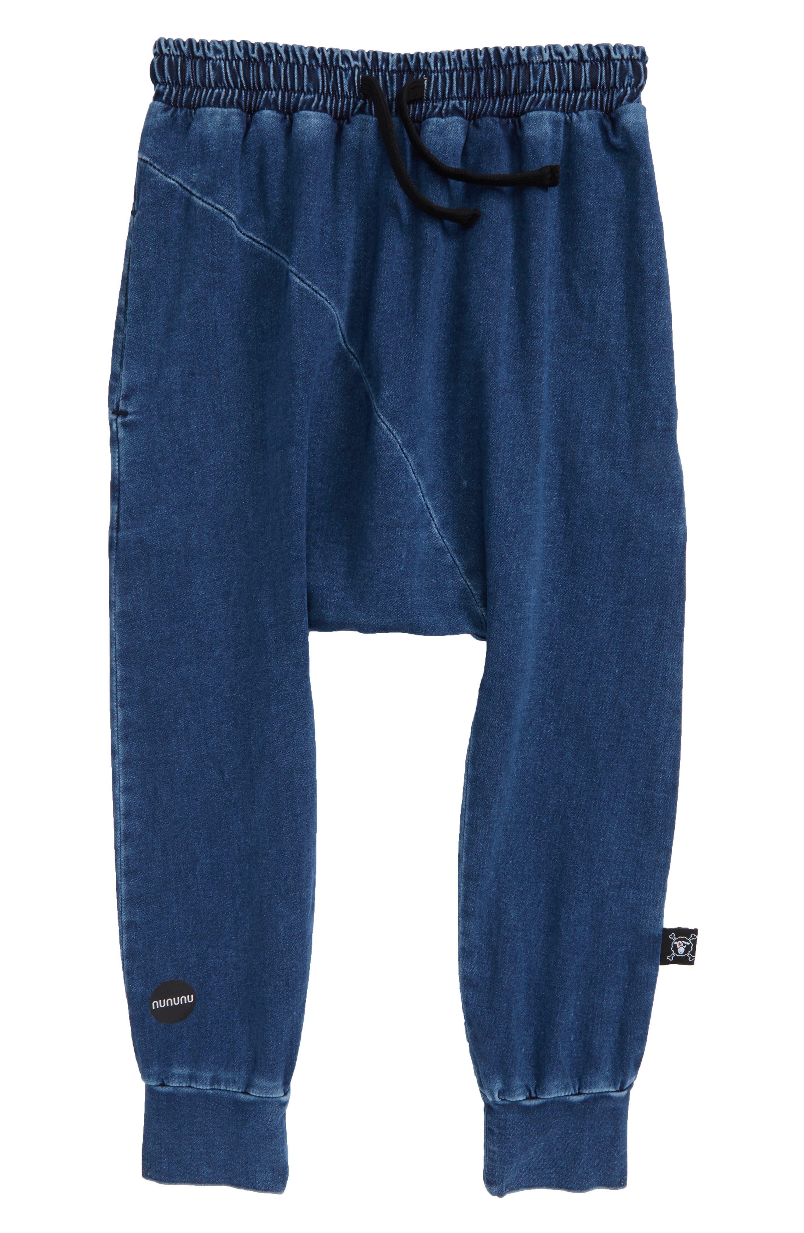 Diagonal Baggy Denim Pants,                             Main thumbnail 1, color,                             400