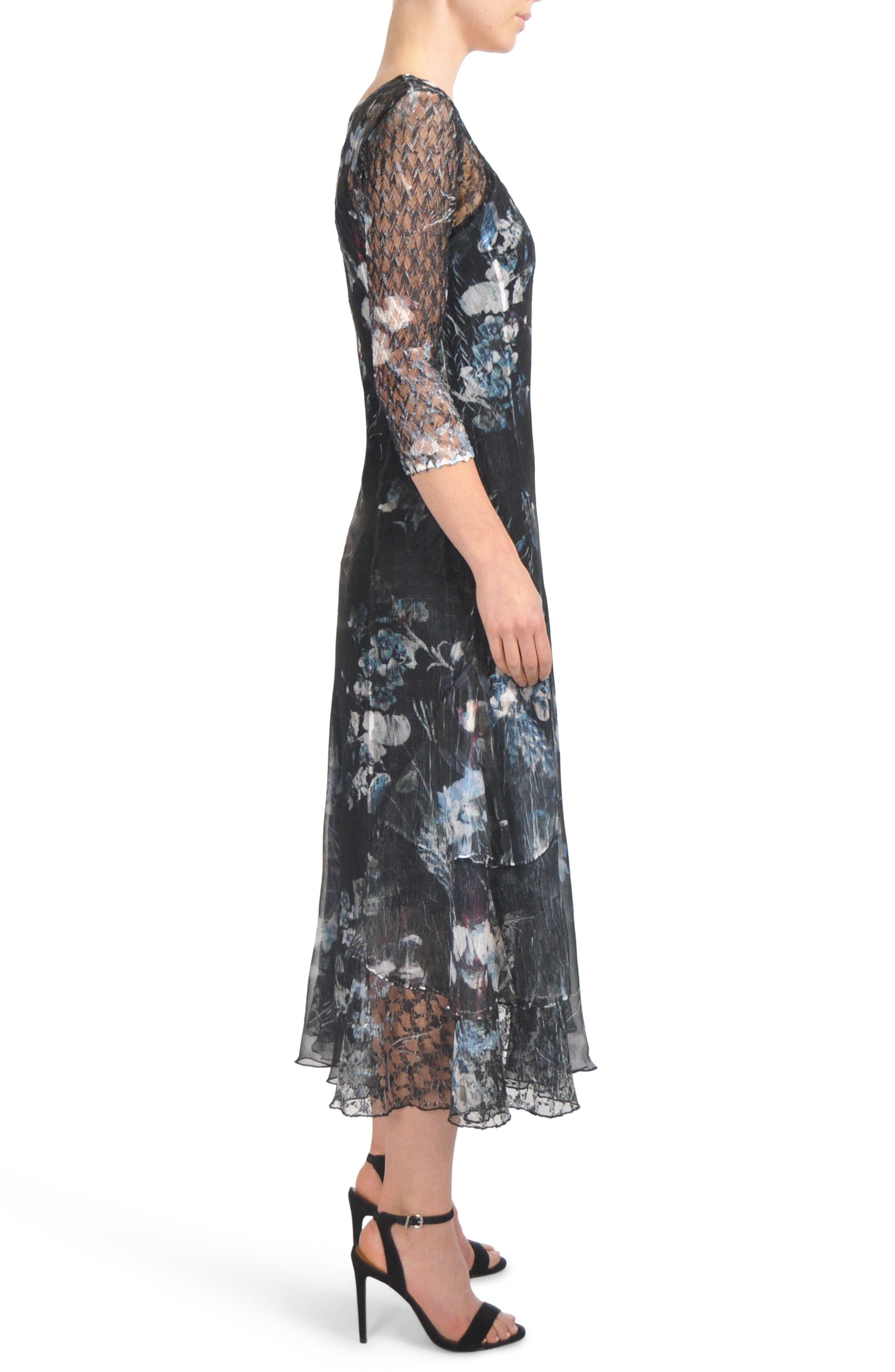 Floral Tiered Hem Chiffon Dress,                             Alternate thumbnail 3, color,                             001