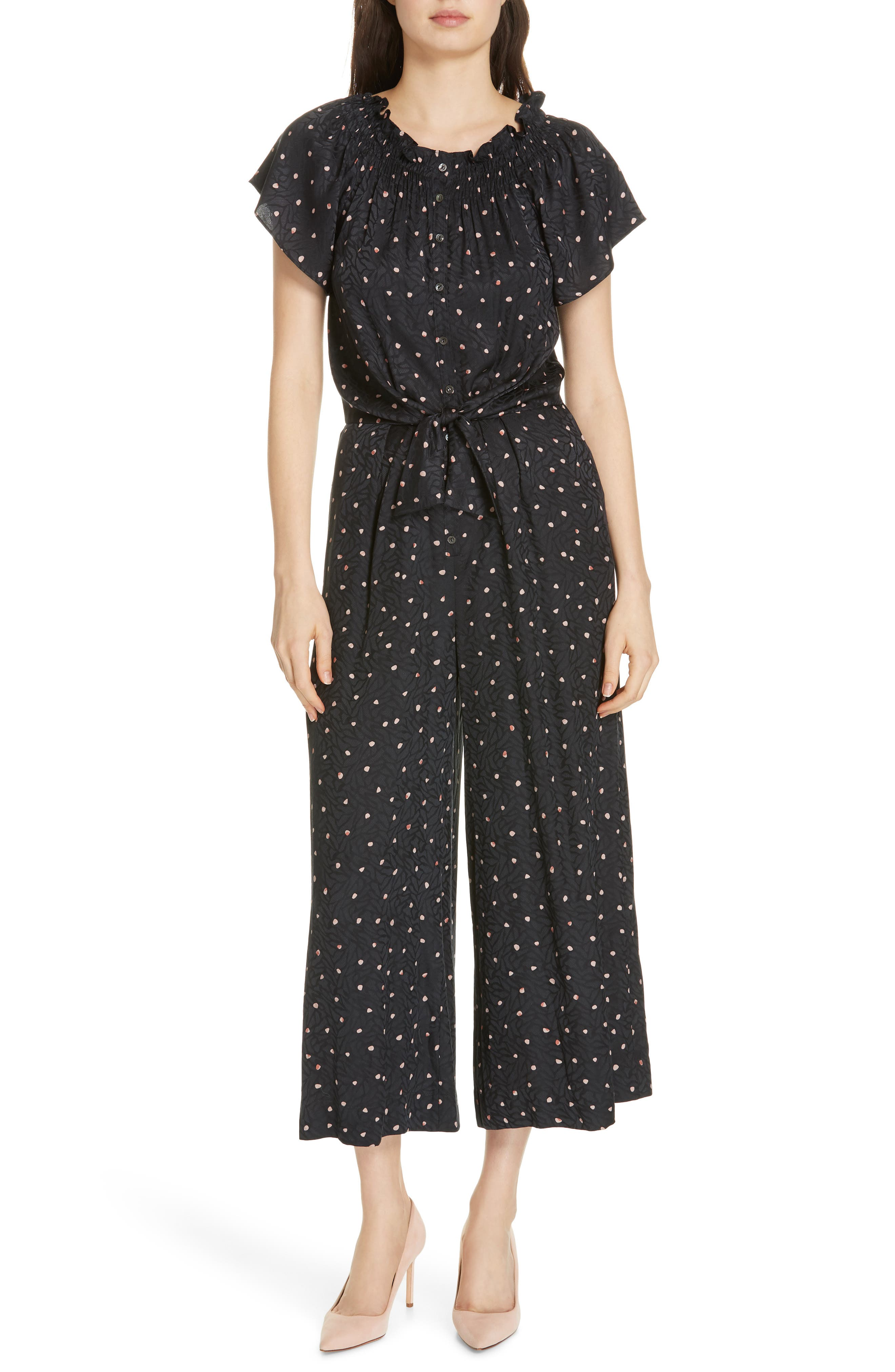 Painted Dot Jumpsuit in Black Combo