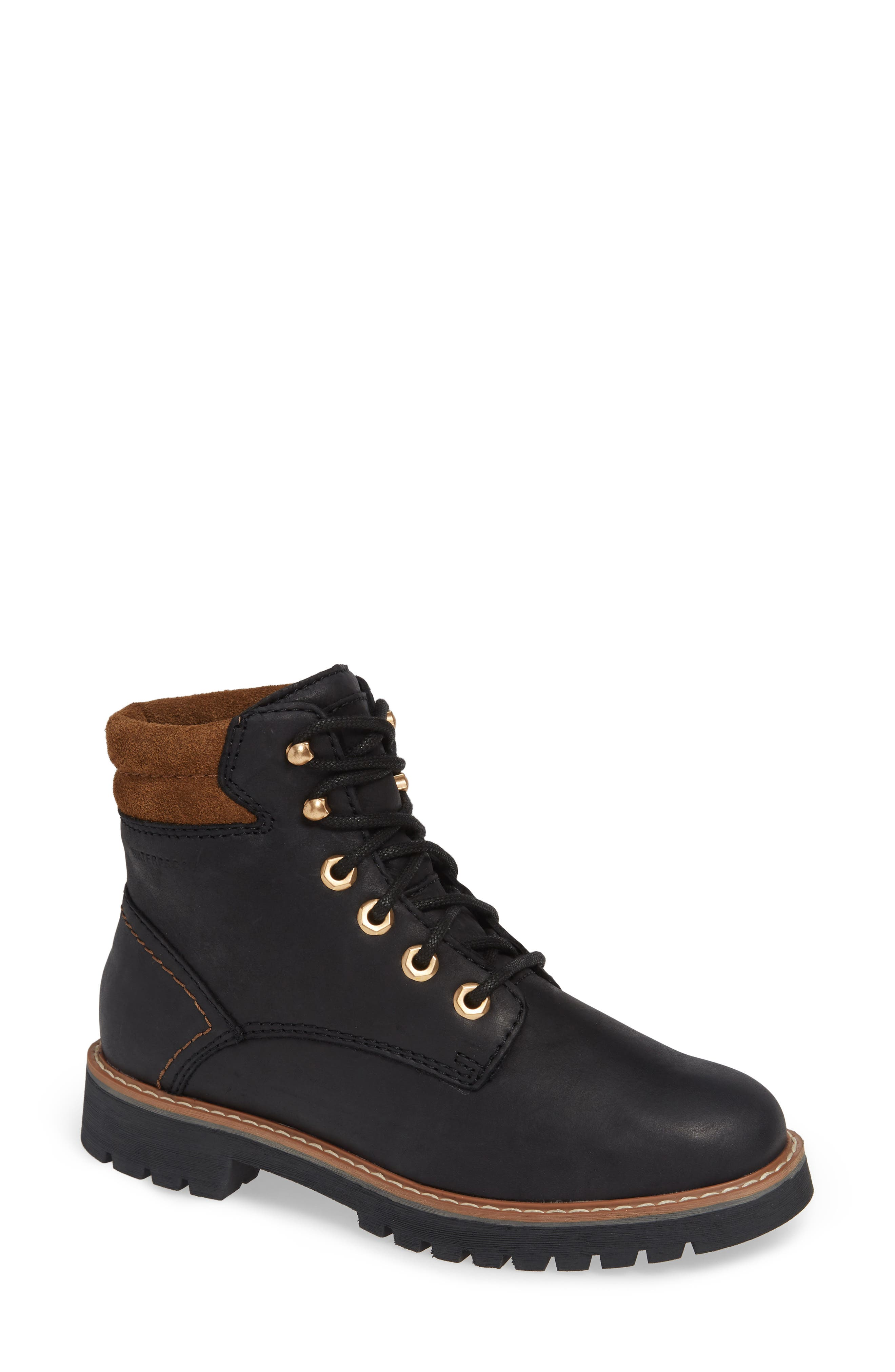 Heston Waterproof Insulated Hiking Boot,                         Main,                         color, BLACK LEATHER
