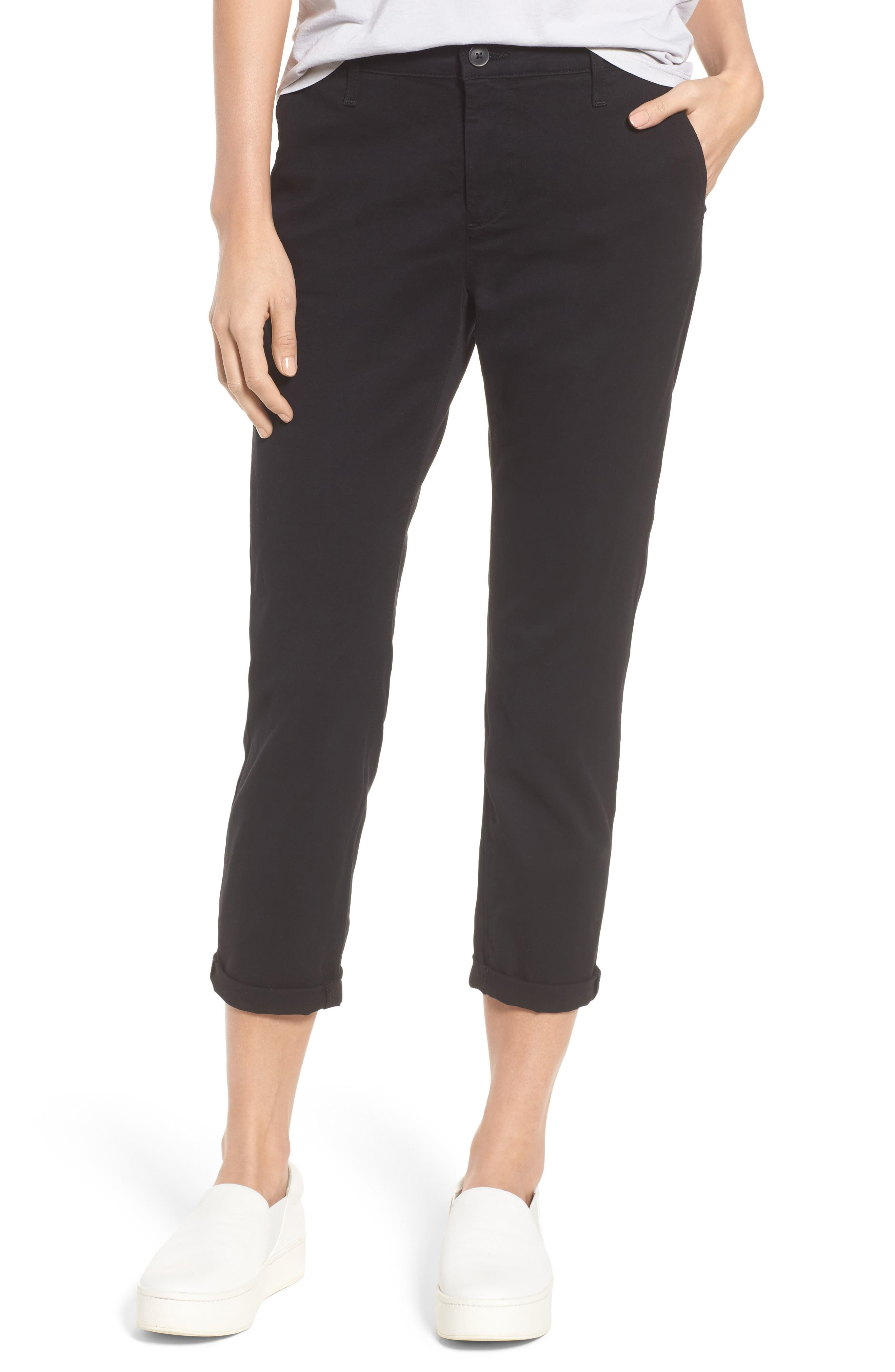 Caden Crop Twill Trousers,                             Main thumbnail 1, color,                             010