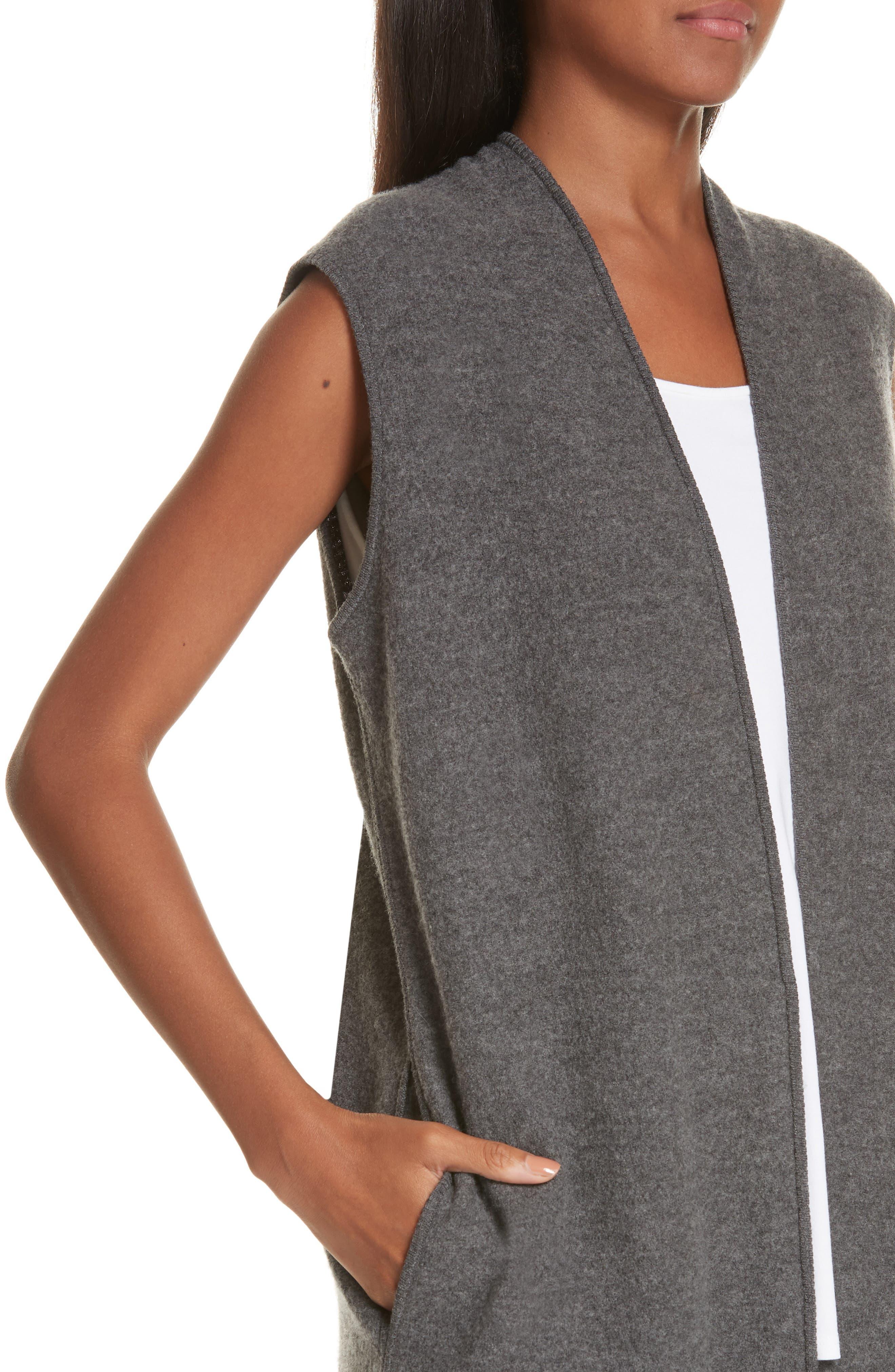 Long Merino Wool Vest,                             Alternate thumbnail 4, color,                             030