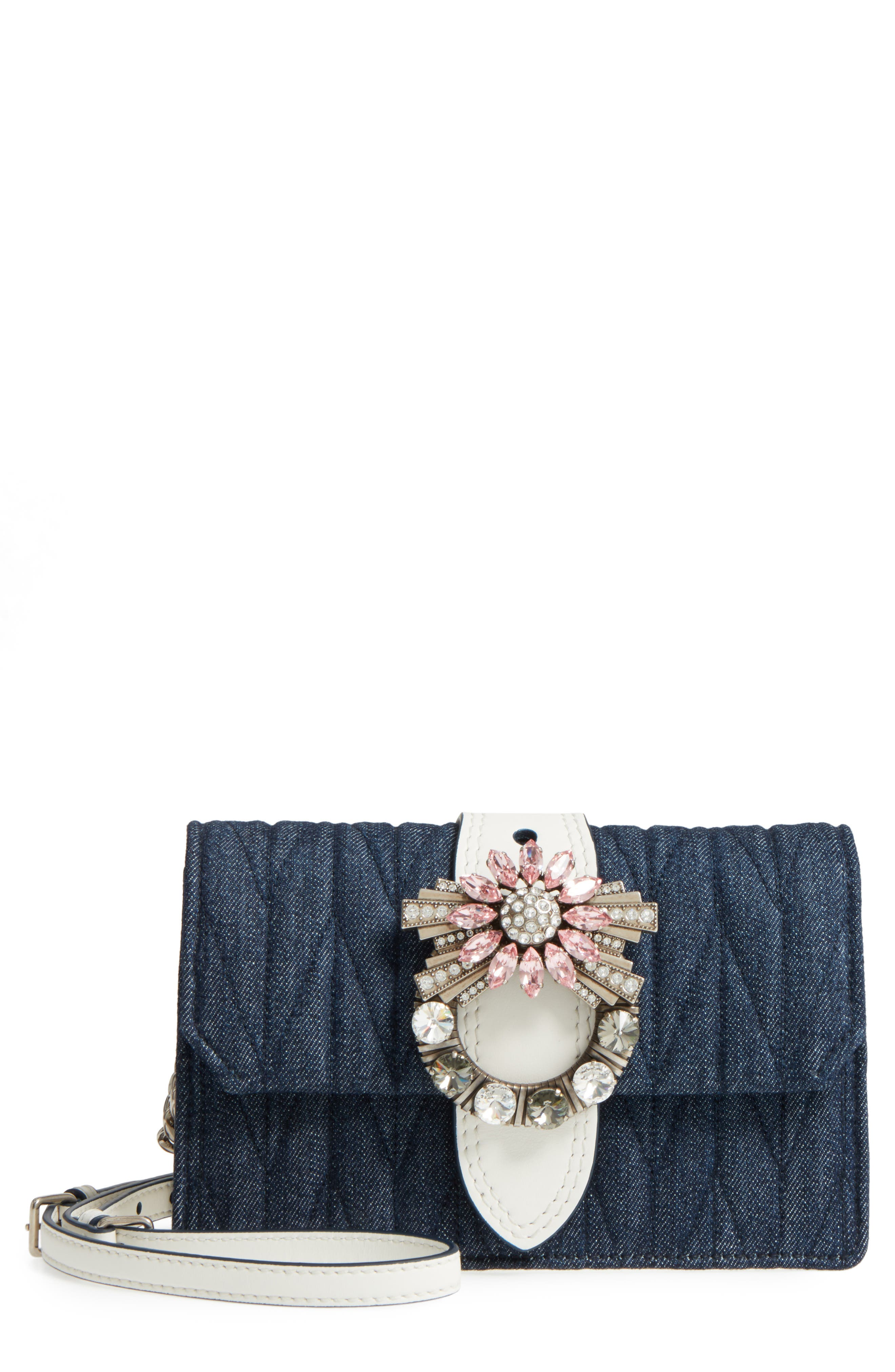 Matelassé Denim Embellished Shoulder Bag,                             Main thumbnail 1, color,                             BLU/ BIANCO