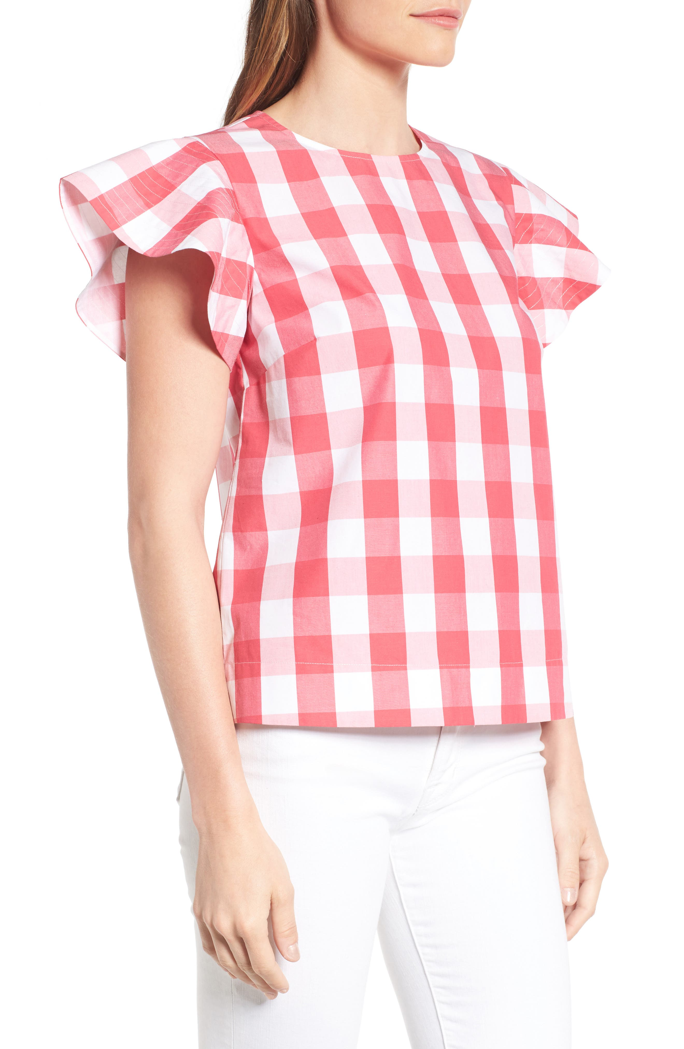 Cloister Gingham Cotton Top,                             Alternate thumbnail 6, color,