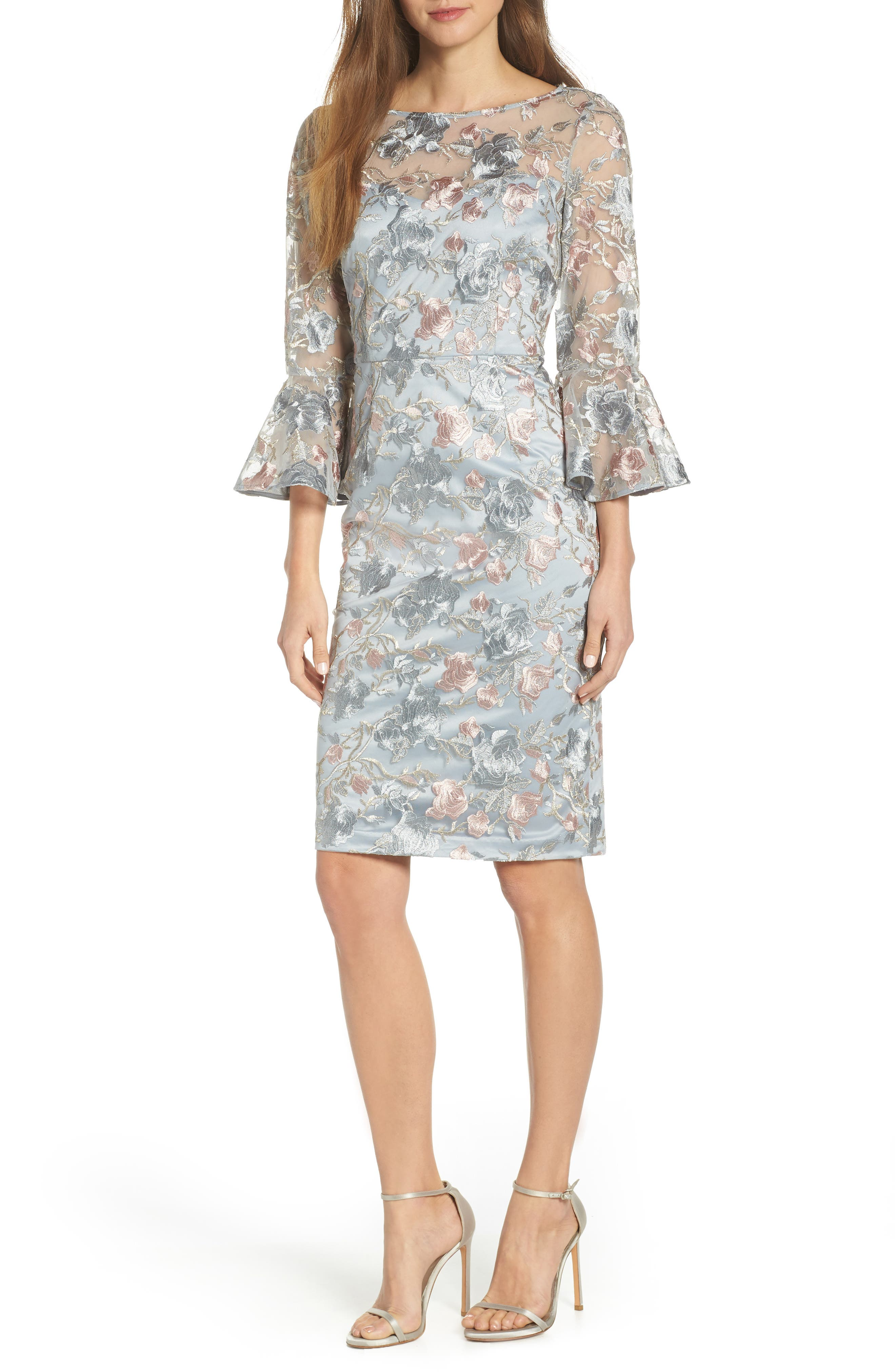 Floral Embroidered Sheath Dress, Main, color, BLUE