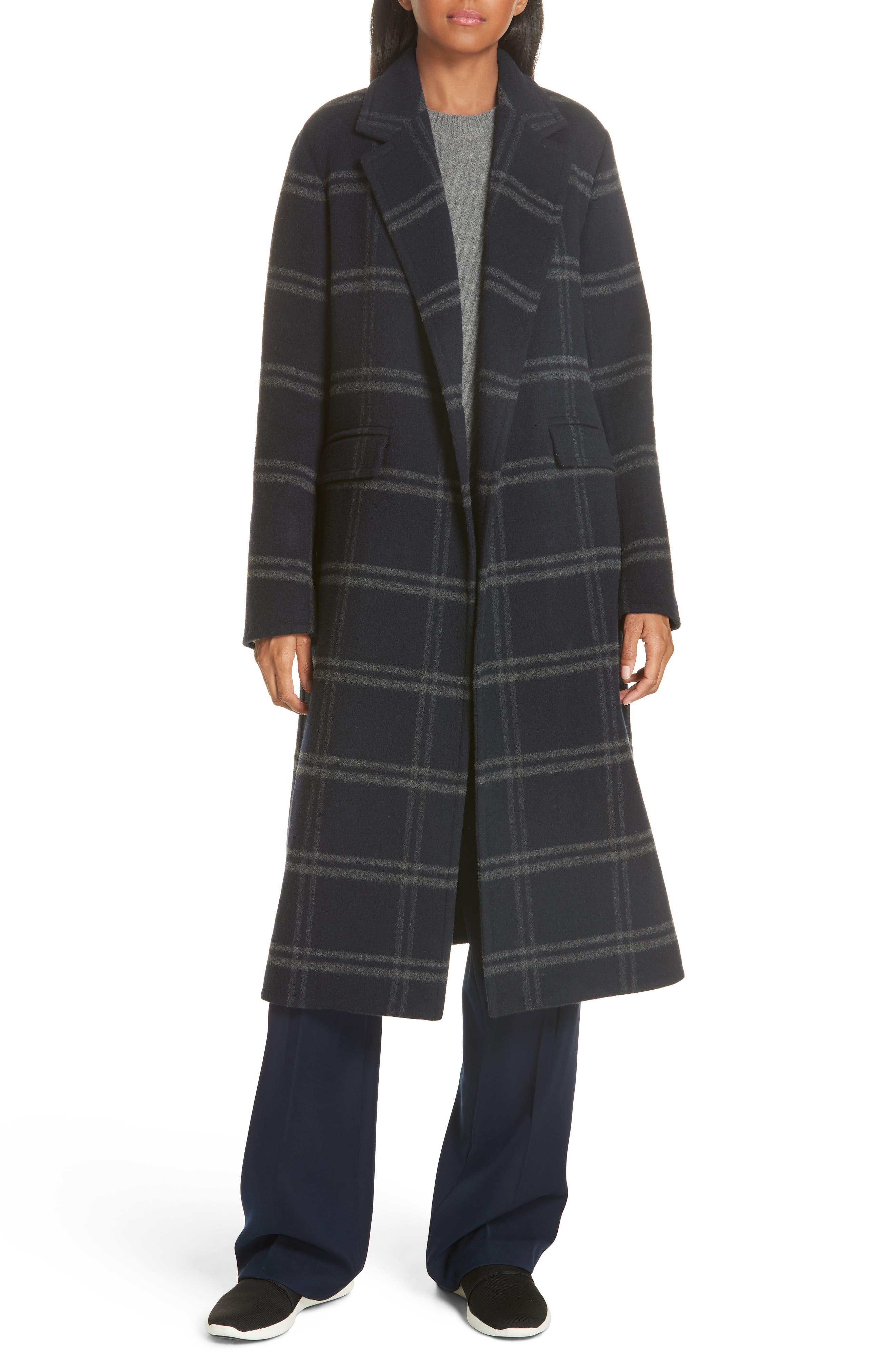 Shadow Plaid Coat,                             Alternate thumbnail 7, color,                             COASTAL/ GREY