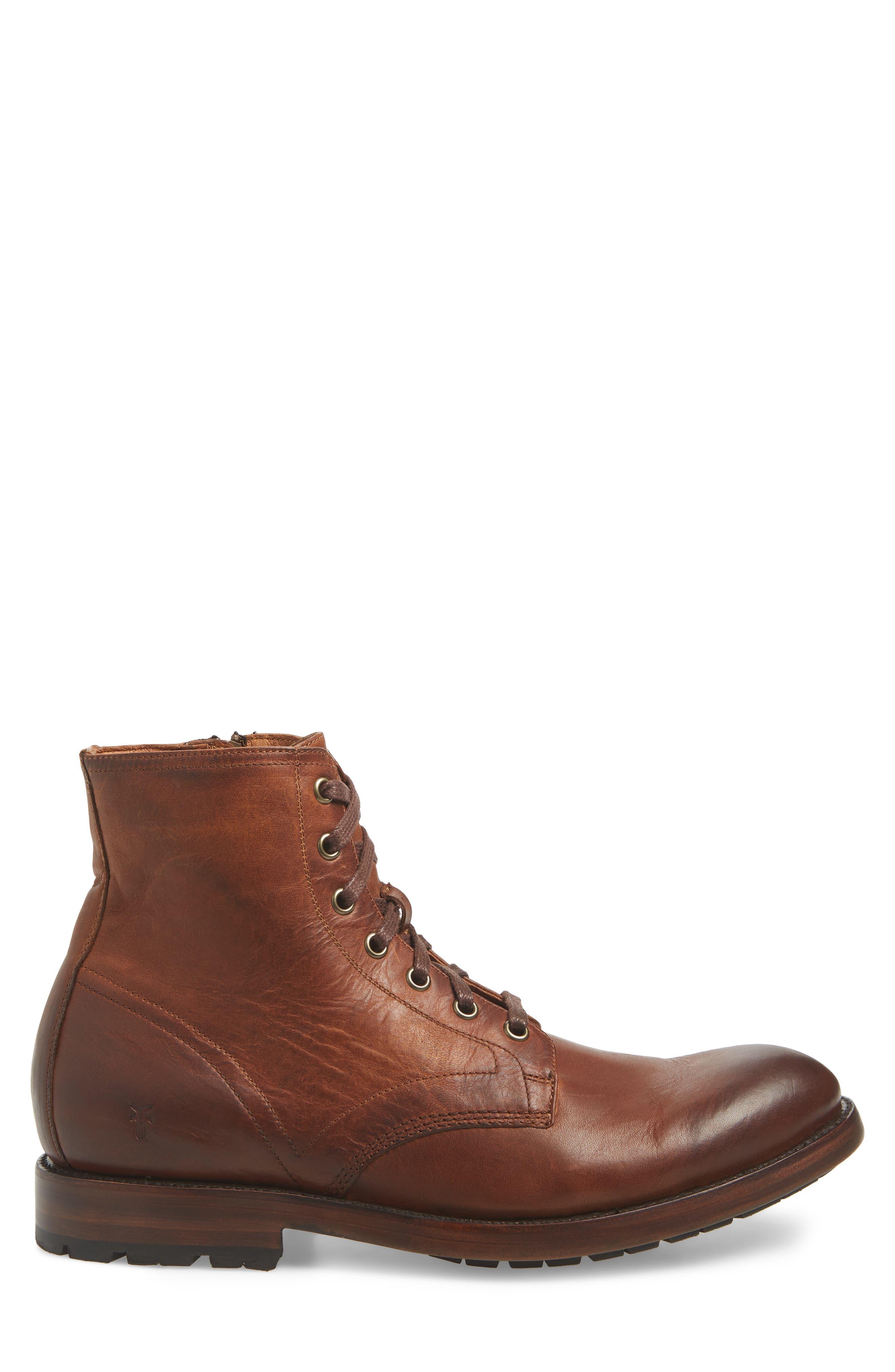 Bowery Plain Toe Boot,                             Alternate thumbnail 3, color,                             COGNAC