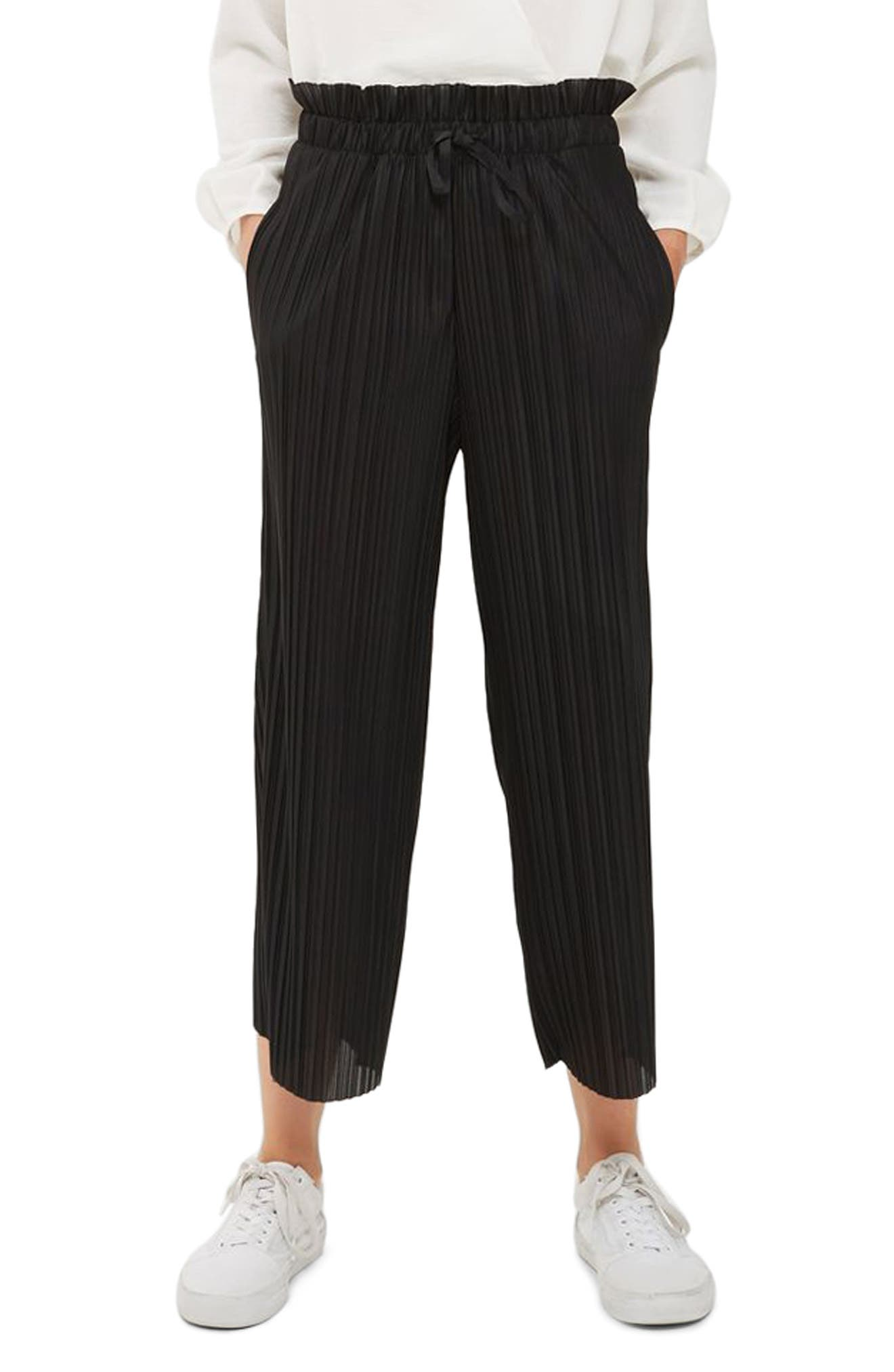 Frill Waist Plissé Crop Trousers,                             Main thumbnail 1, color,                             001