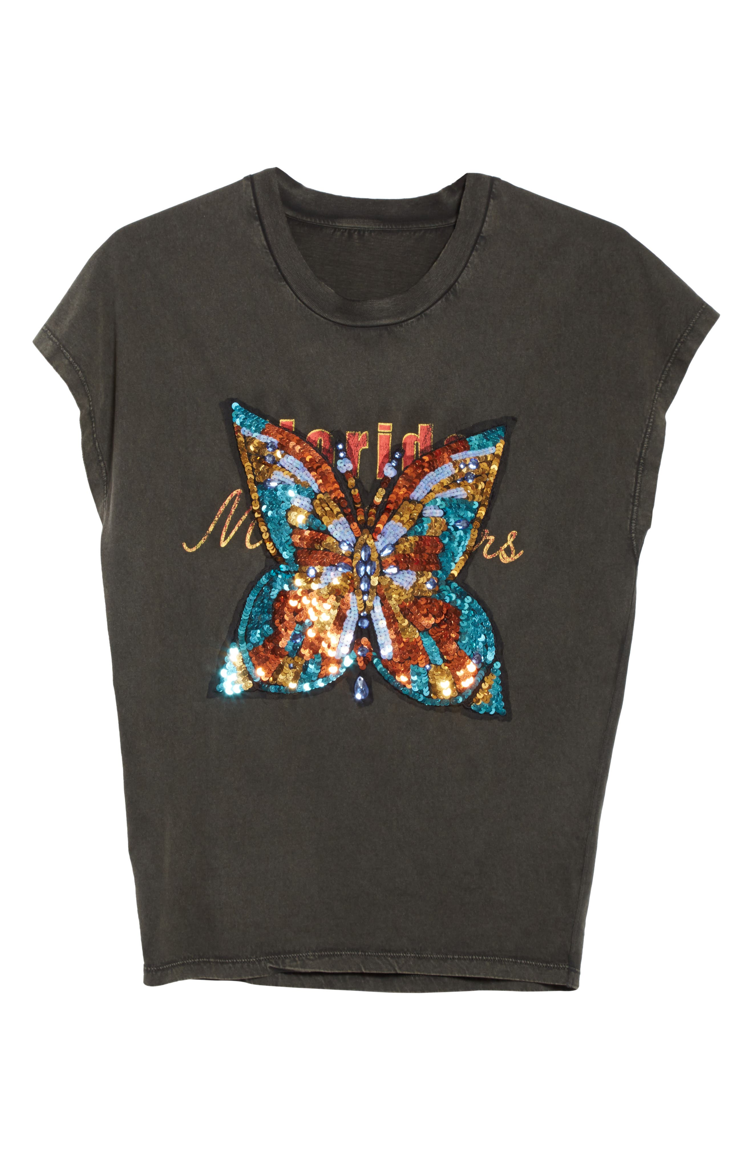 Butterfly Valentine Embellished Tee,                             Alternate thumbnail 6, color,                             001