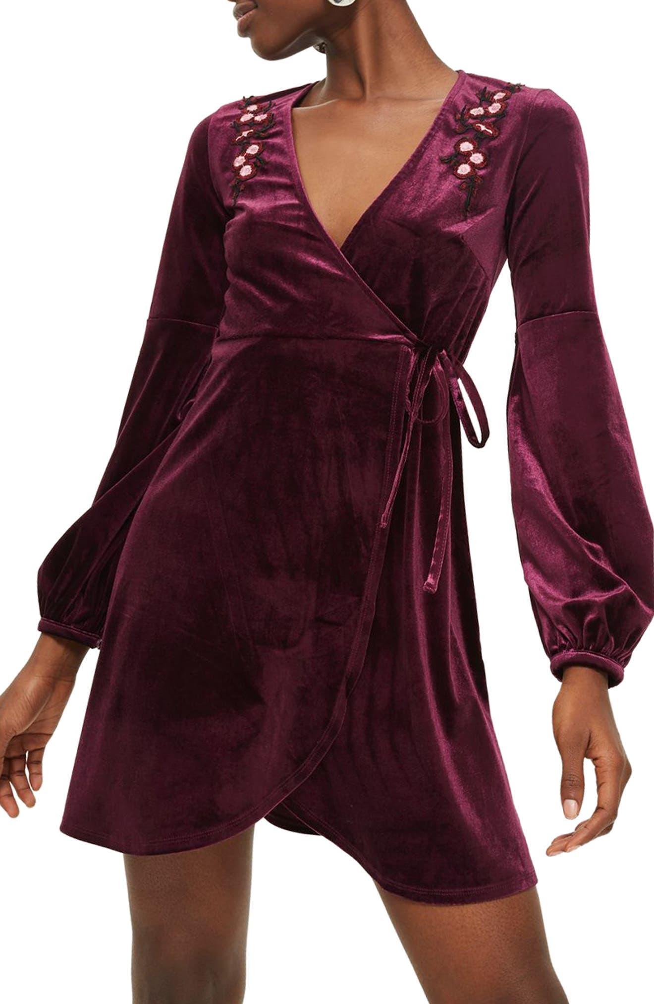 Embroidered Velvet Wrap Dress,                         Main,                         color, 930