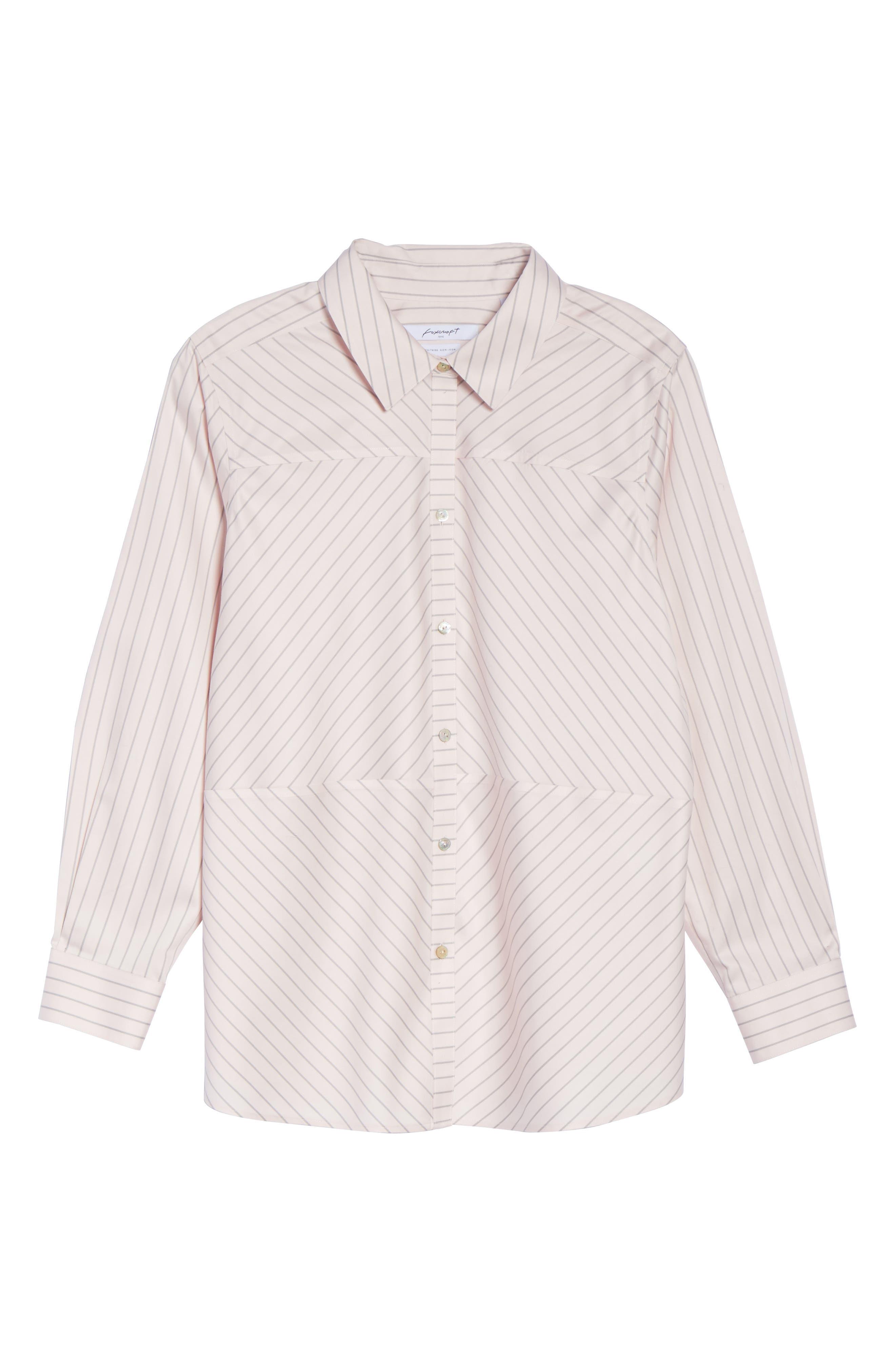 Monica Classic Stripe Shirt,                             Alternate thumbnail 6, color,                             BLUSH