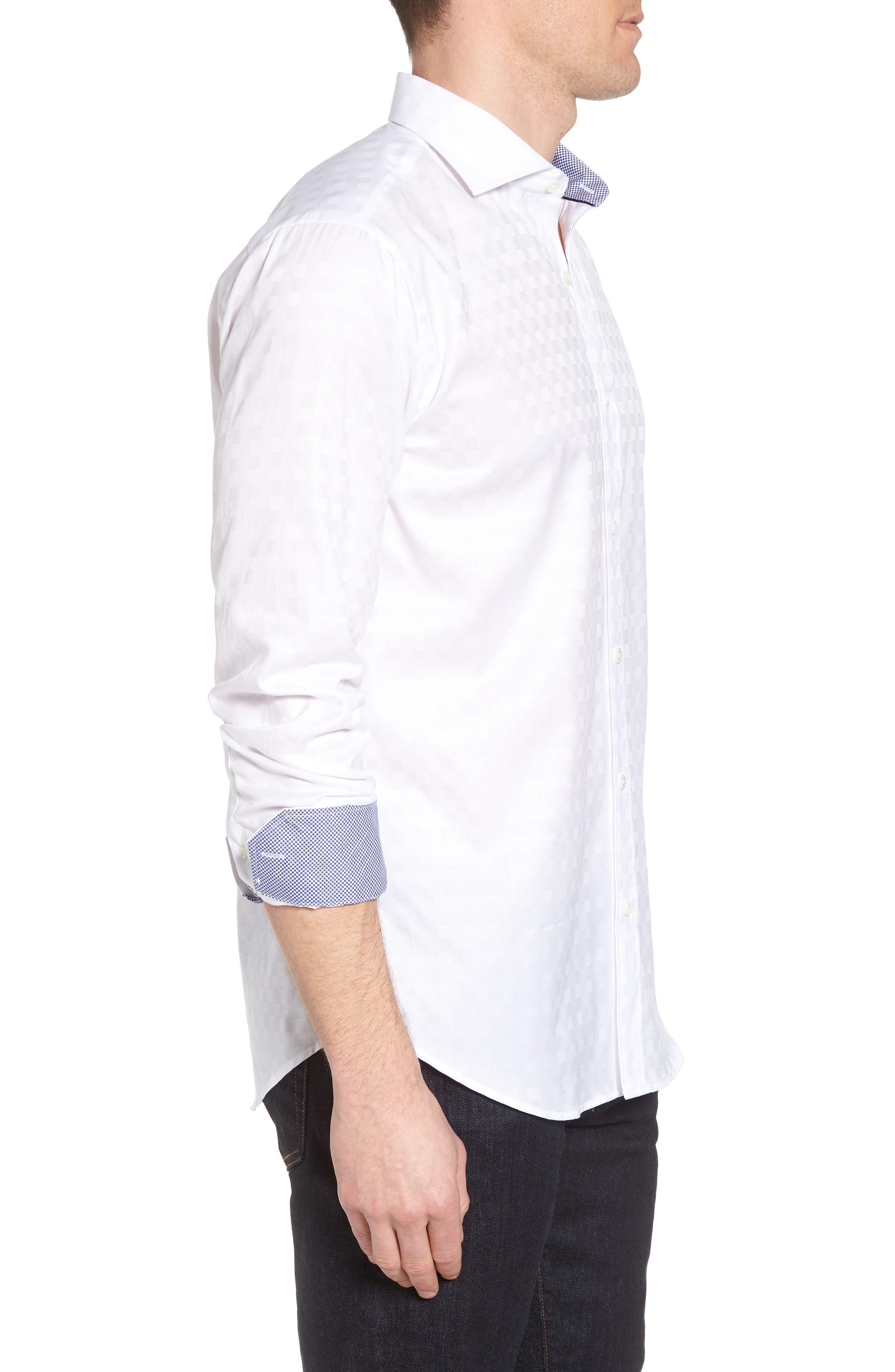 Shaped Fit Tonal Check Sport Shirt,                             Alternate thumbnail 3, color,                             WHITE