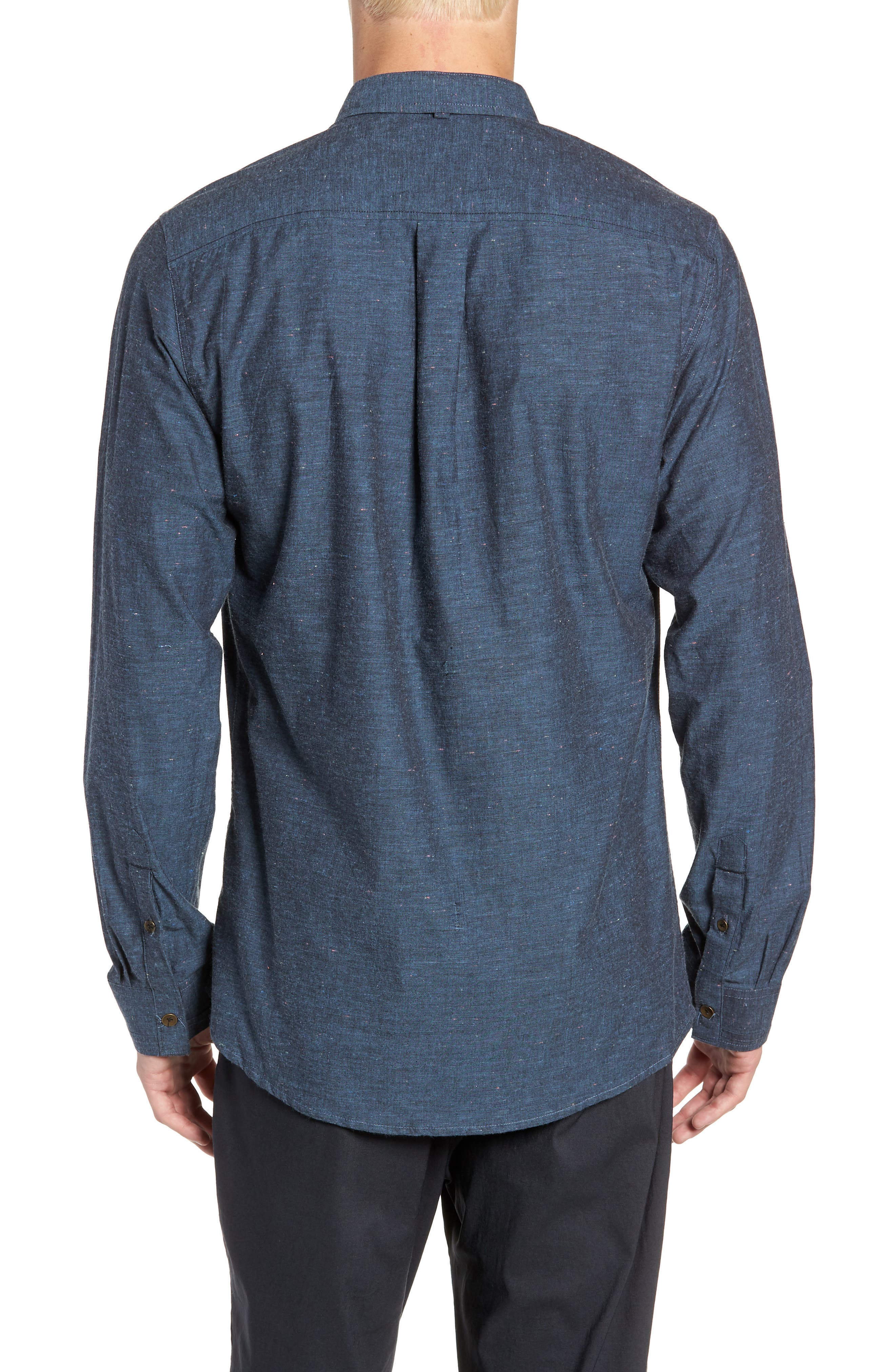 Neppy Chambray Sport Shirt,                             Alternate thumbnail 3, color,                             BLUE/GREY