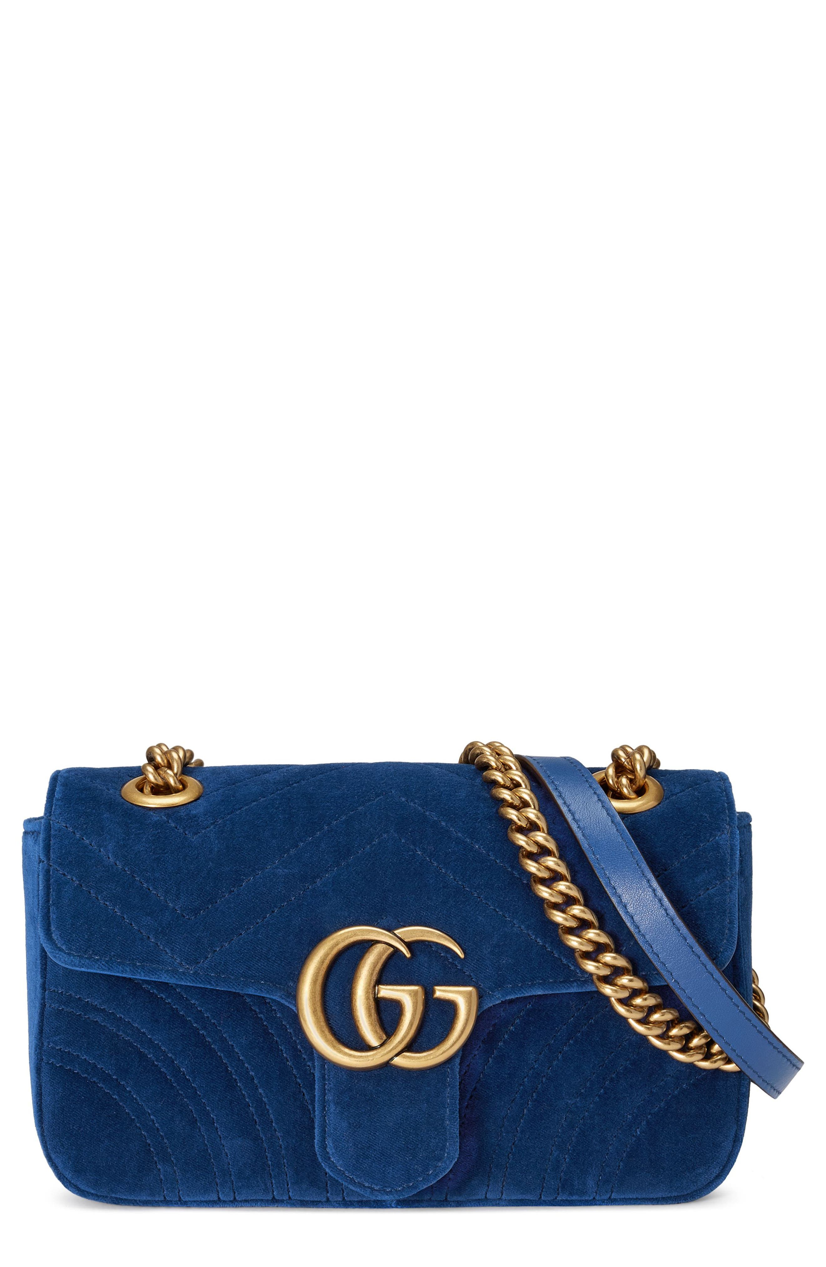 Small GG Marmont 2.0 Matelassé Velvet Shoulder Bag,                             Main thumbnail 1, color,                             COBALT