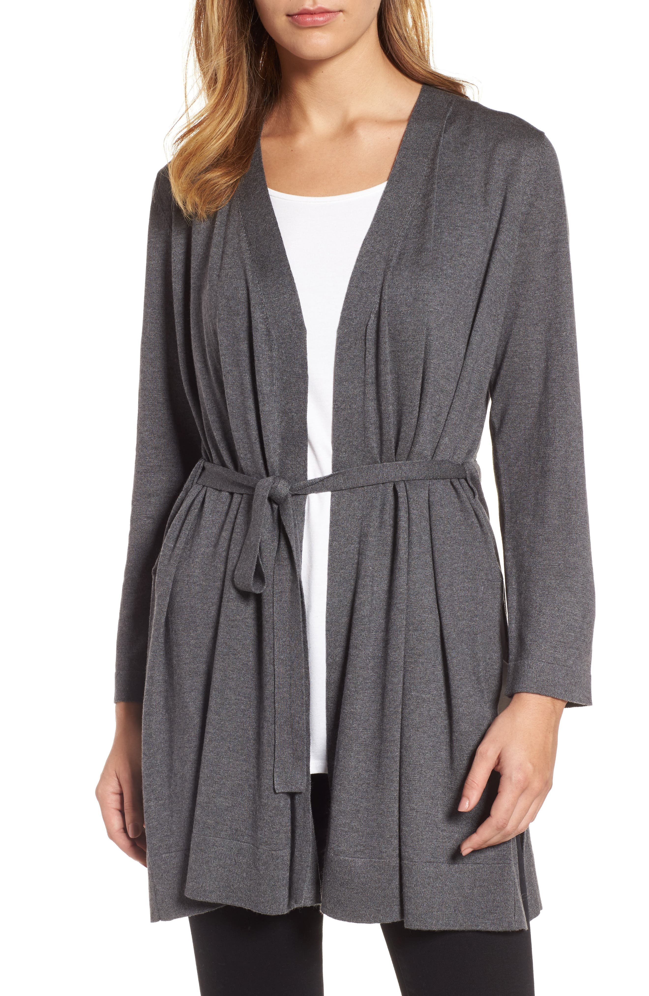 Tie Waist Tencel<sup>®</sup> Lyocell Blend Cardigan,                             Main thumbnail 2, color,