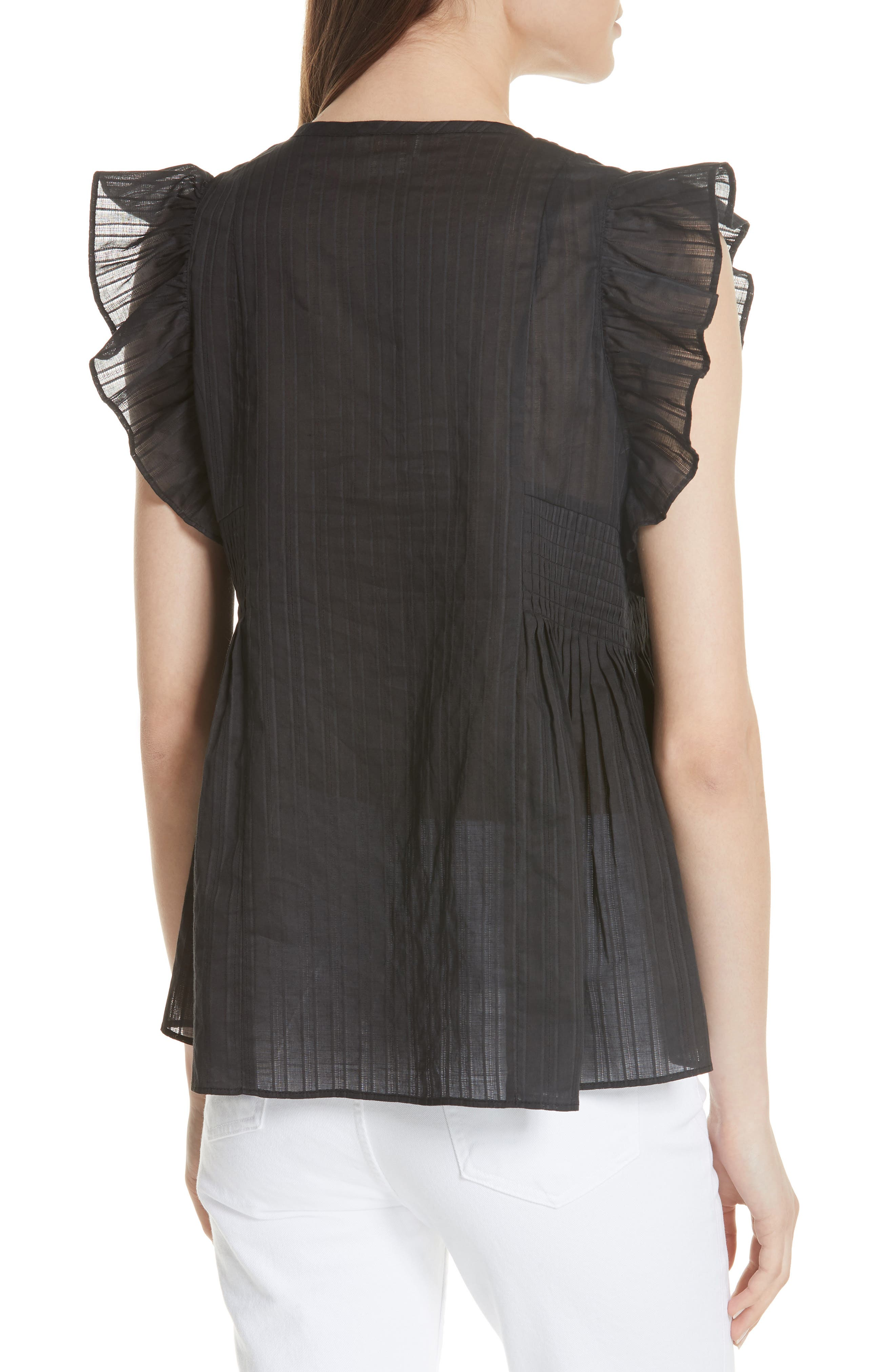 KATE SPADE NEW YORK,                             mosaic embroidered tassel top,                             Alternate thumbnail 2, color,                             001