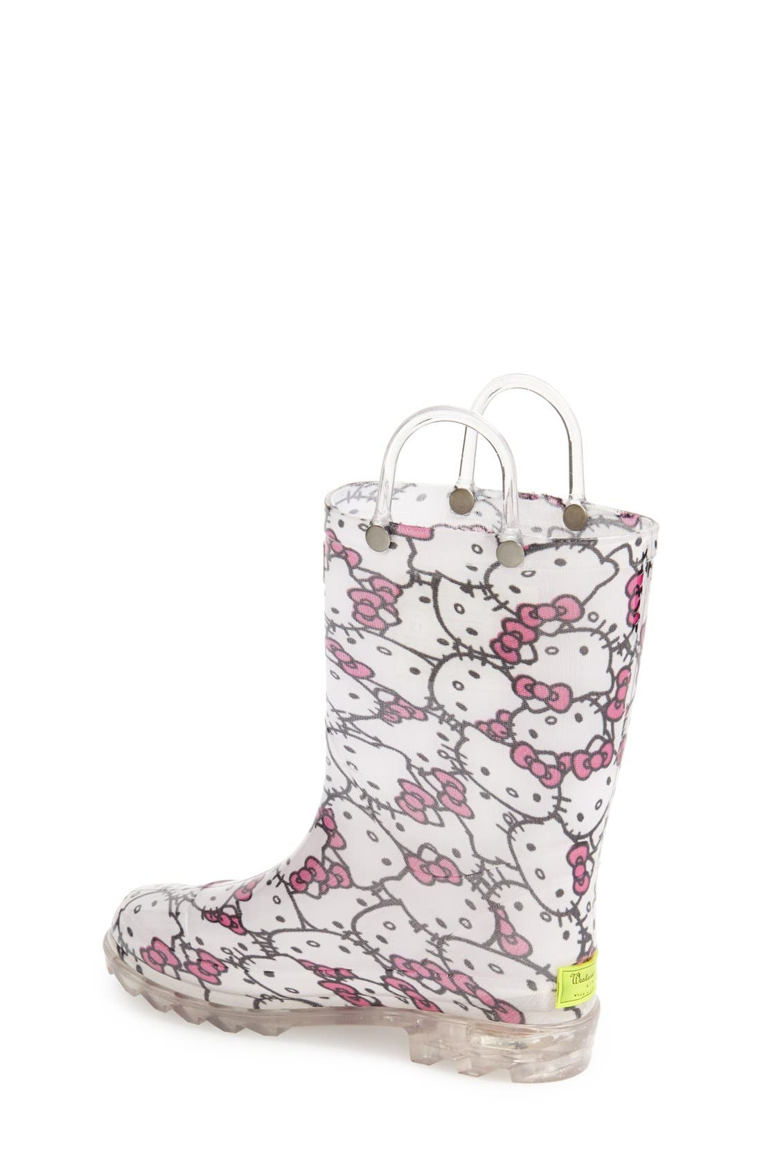 'Hello Kitty<sup>®</sup>' Light Up Rain Boot,                             Alternate thumbnail 4, color,                             100