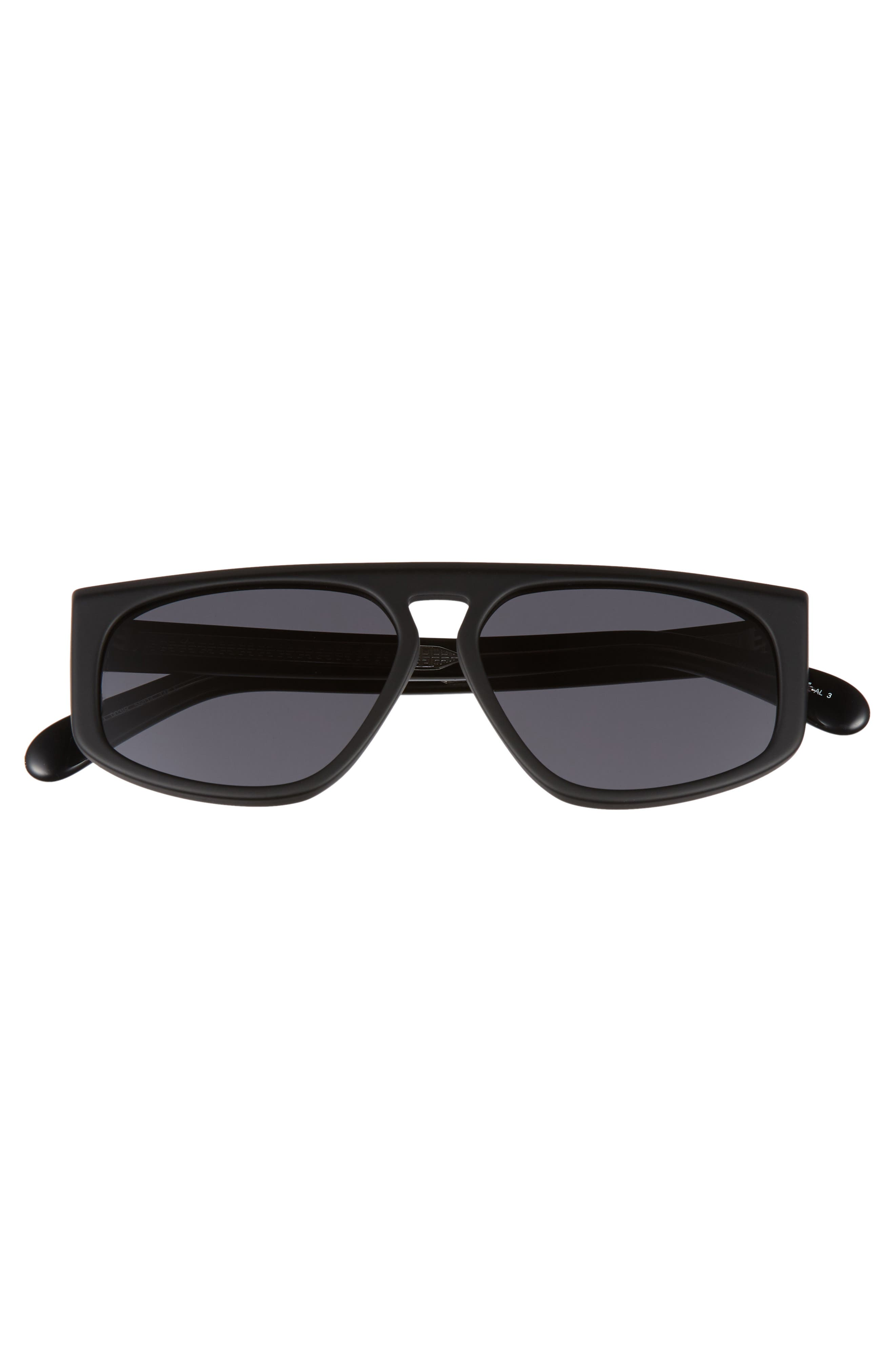 55mm Flat Top Sunglasses,                             Alternate thumbnail 3, color,                             MATTE BLACK