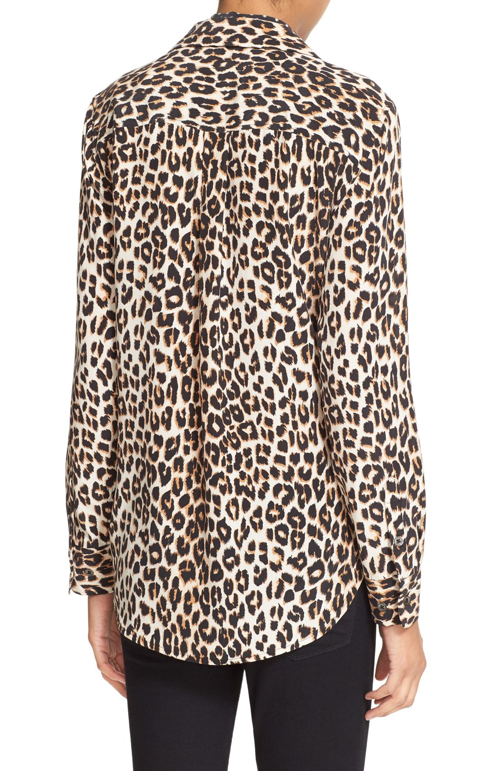 438f2d1669 Kate Moss for Equipment  Slim Signature  Leopard Print Silk Shirt with Tie