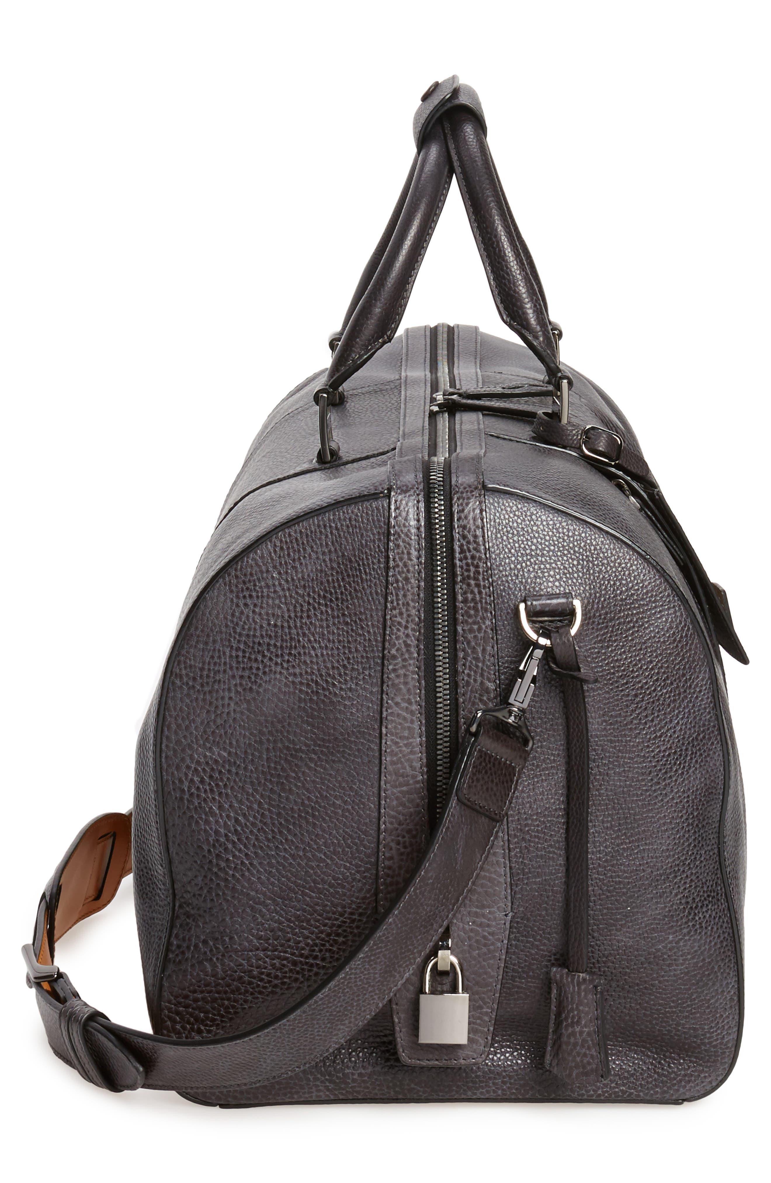 Traveler Leather Duffel Bag,                             Alternate thumbnail 5, color,                             020