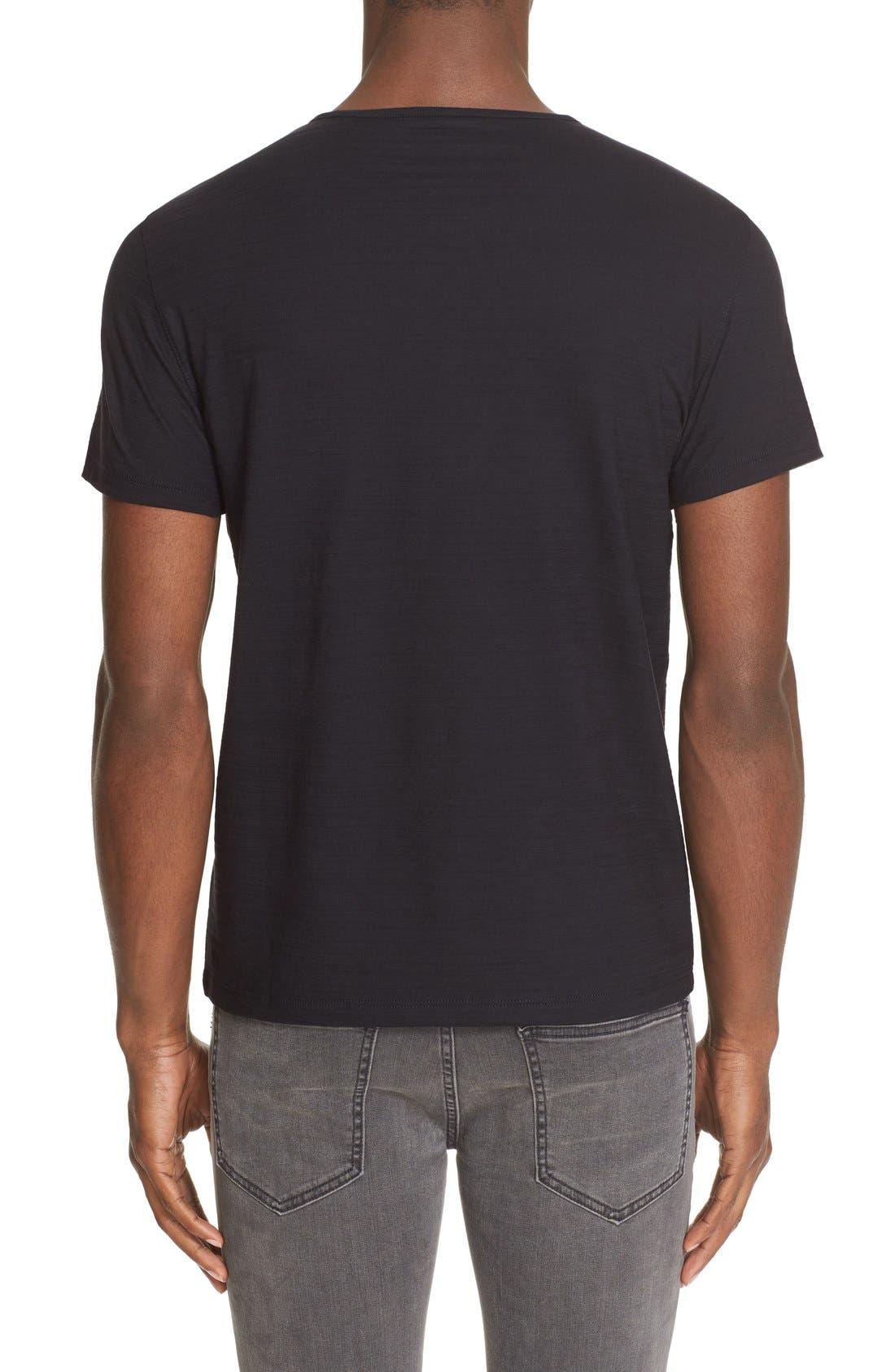 Slub Pima Cotton T-Shirt,                             Alternate thumbnail 2, color,                             BLACK