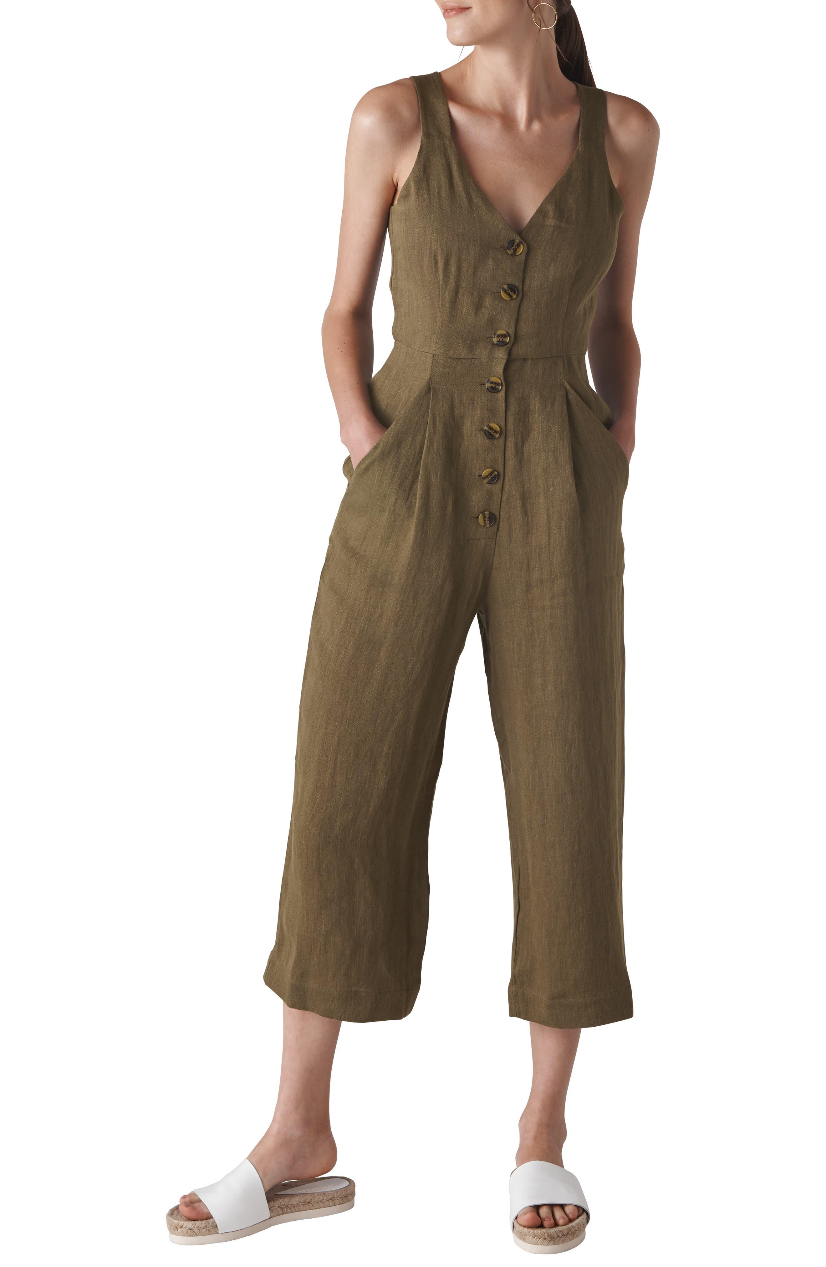 Liza Linen Button Jumpsuit,                             Main thumbnail 1, color,                             250