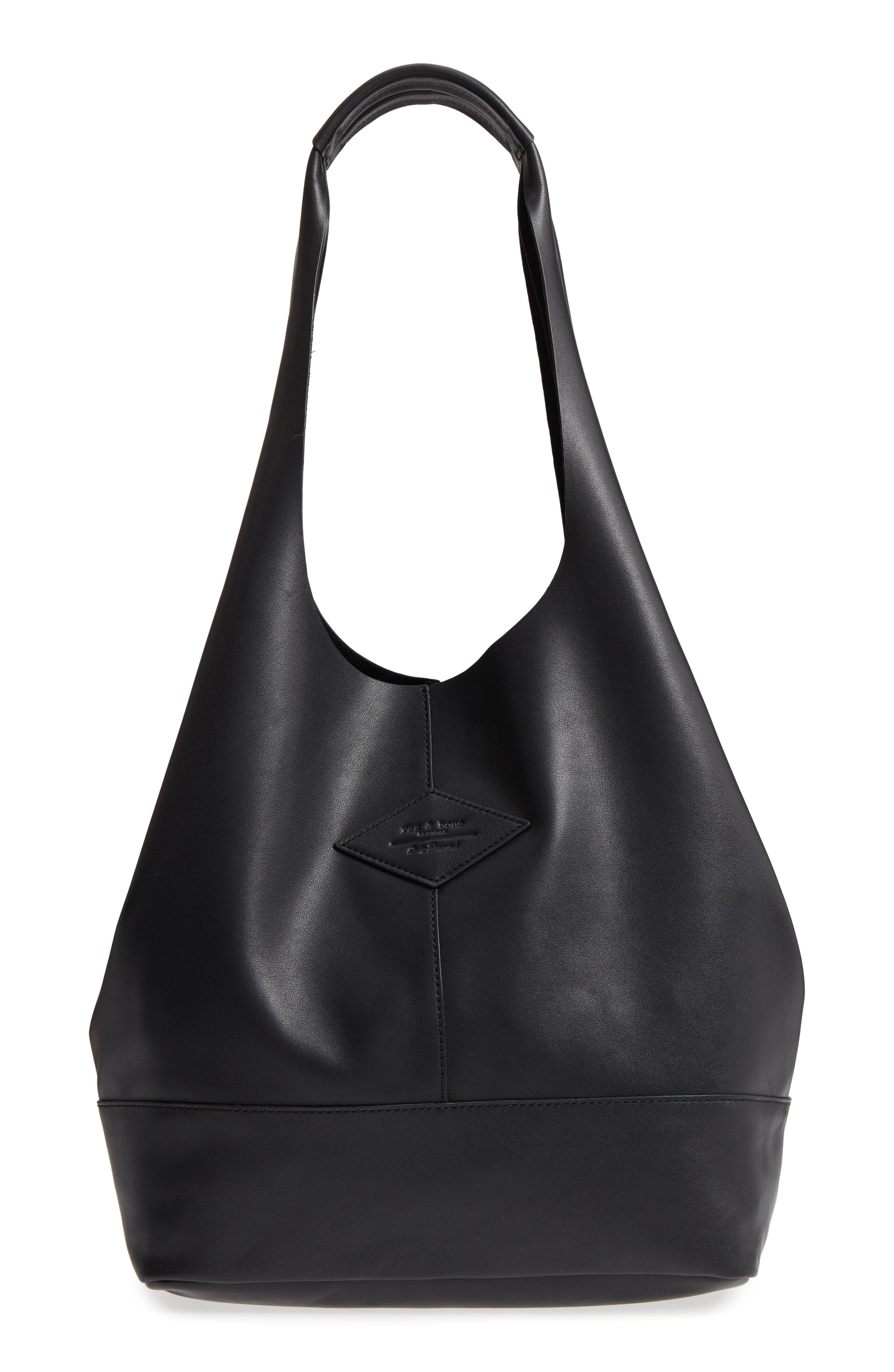 Camden Leather Tote,                         Main,                         color, BLACK