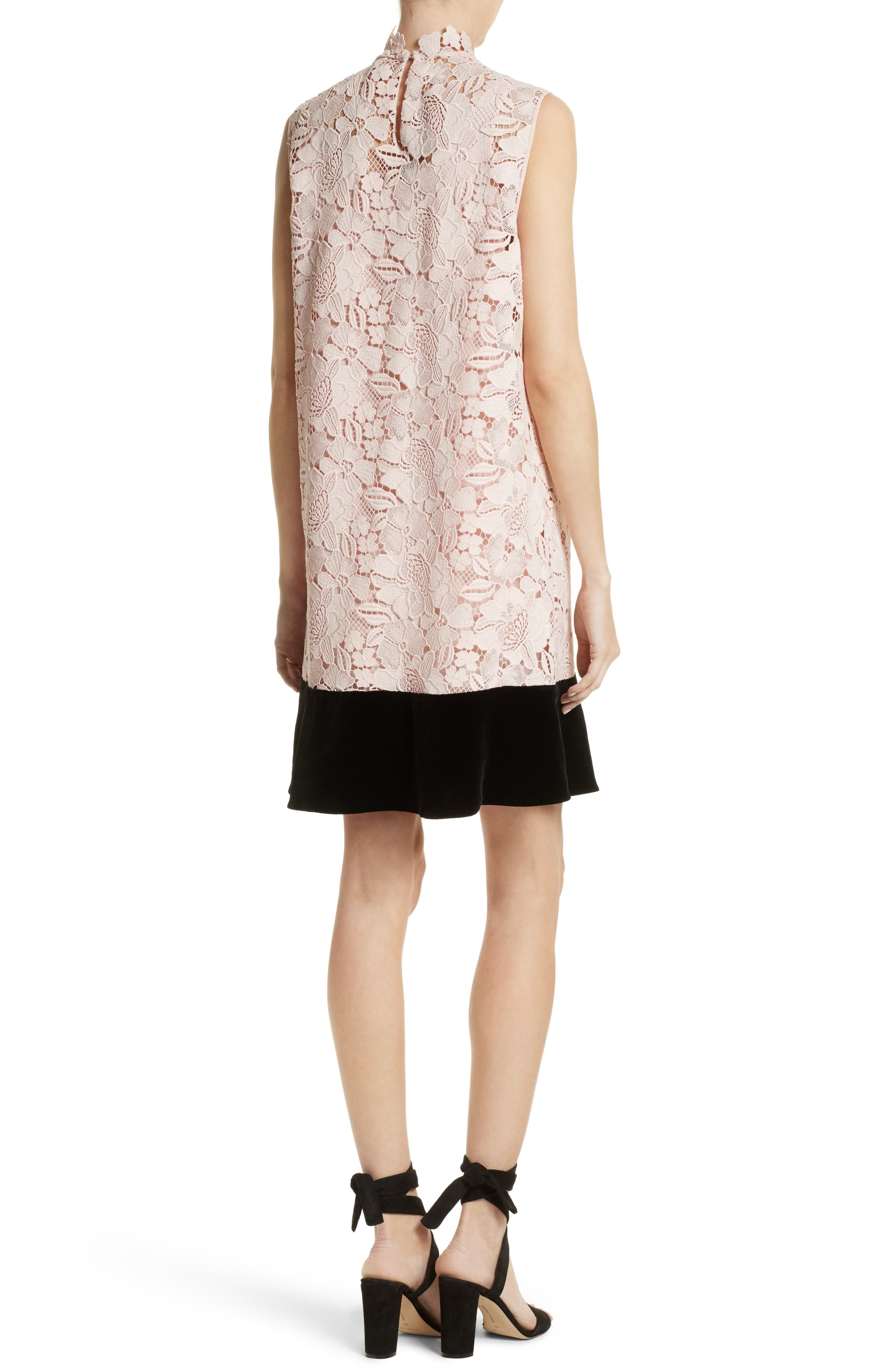 Lace & Velvet Shift Dress,                             Alternate thumbnail 2, color,                             100