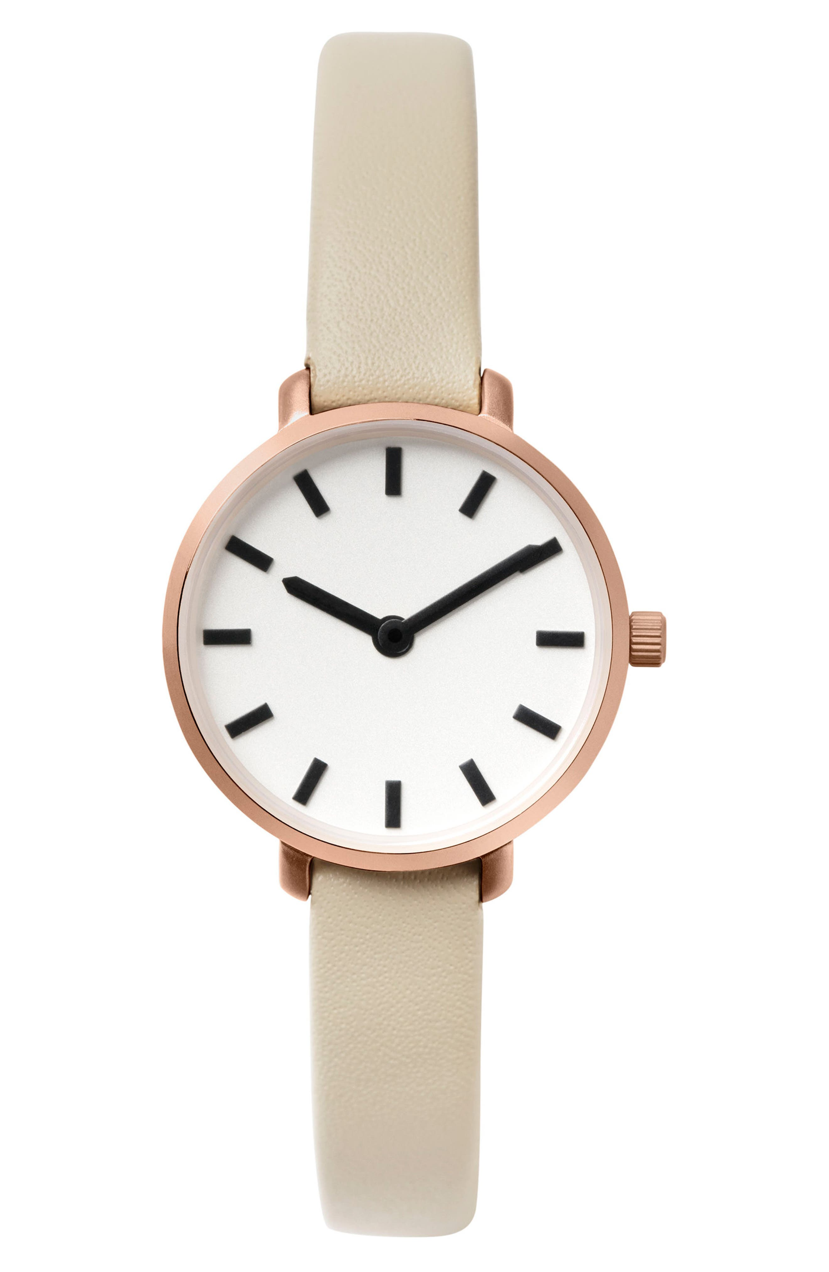 Beverly Round Leather Strap Watch, 26mm,                         Main,                         color, GREY/ ROSE GOLD