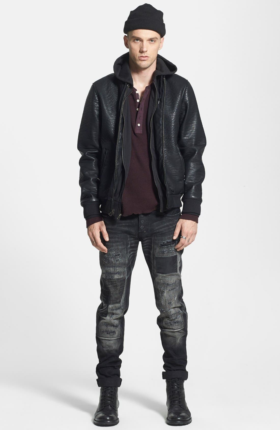 Faux Leather Hooded Bomber Jacket,                             Alternate thumbnail 4, color,                             001