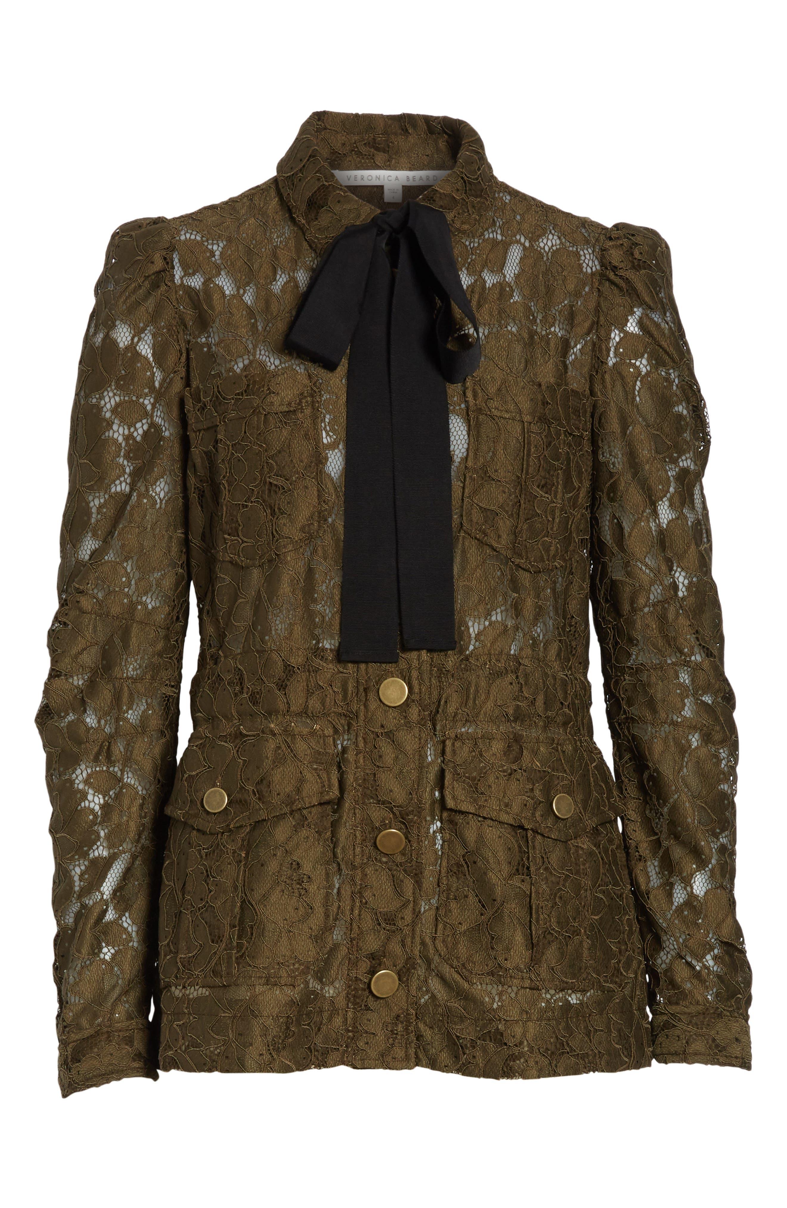 Daniela Tie Neck Lace Army Jacket,                             Alternate thumbnail 5, color,                             310
