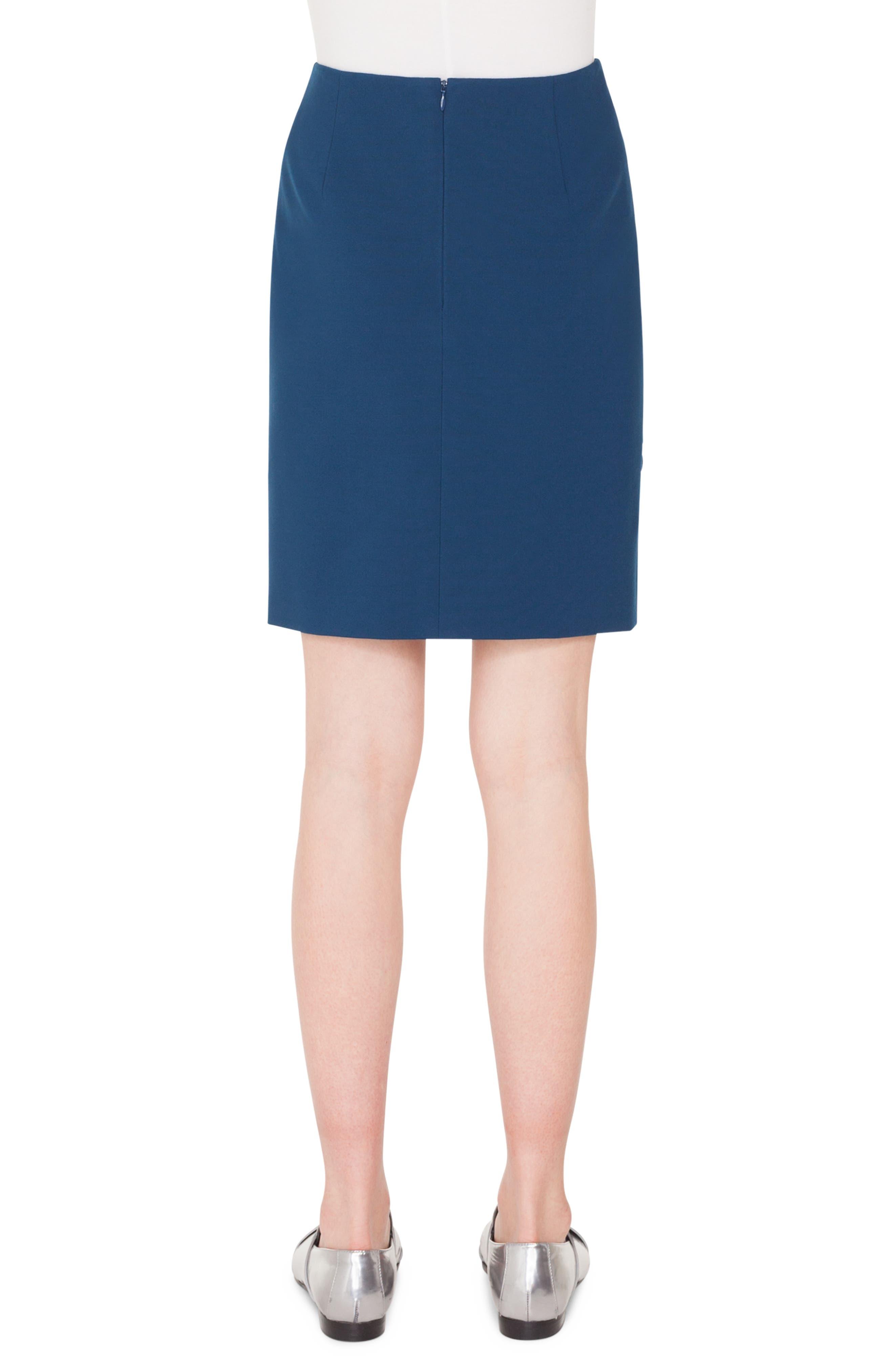 AKRIS PUNTO,                             Scallop Detail Miniskirt,                             Alternate thumbnail 2, color,                             BLU MARE