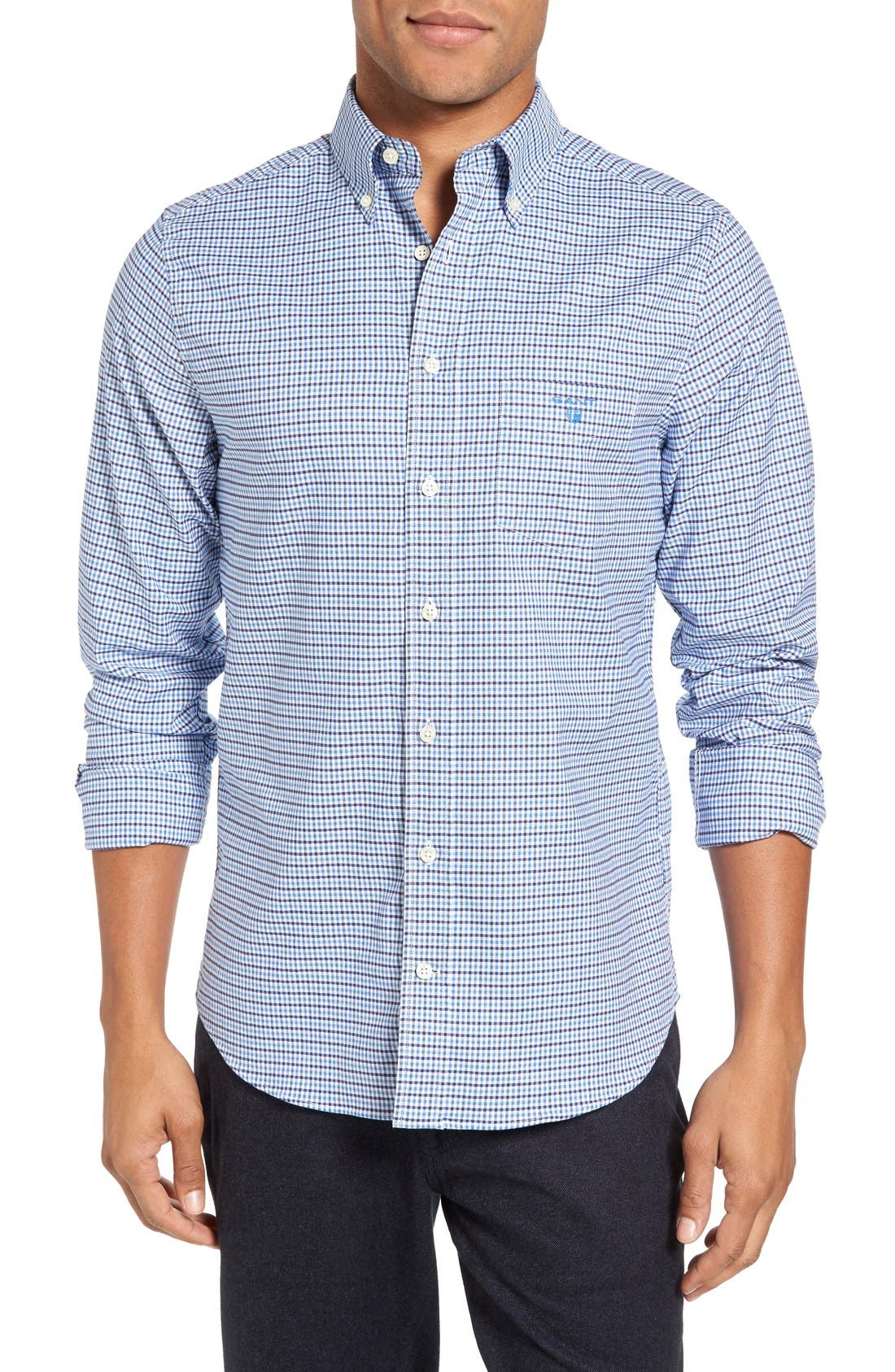 Gingham Fitted Sport Shirt,                             Main thumbnail 1, color,