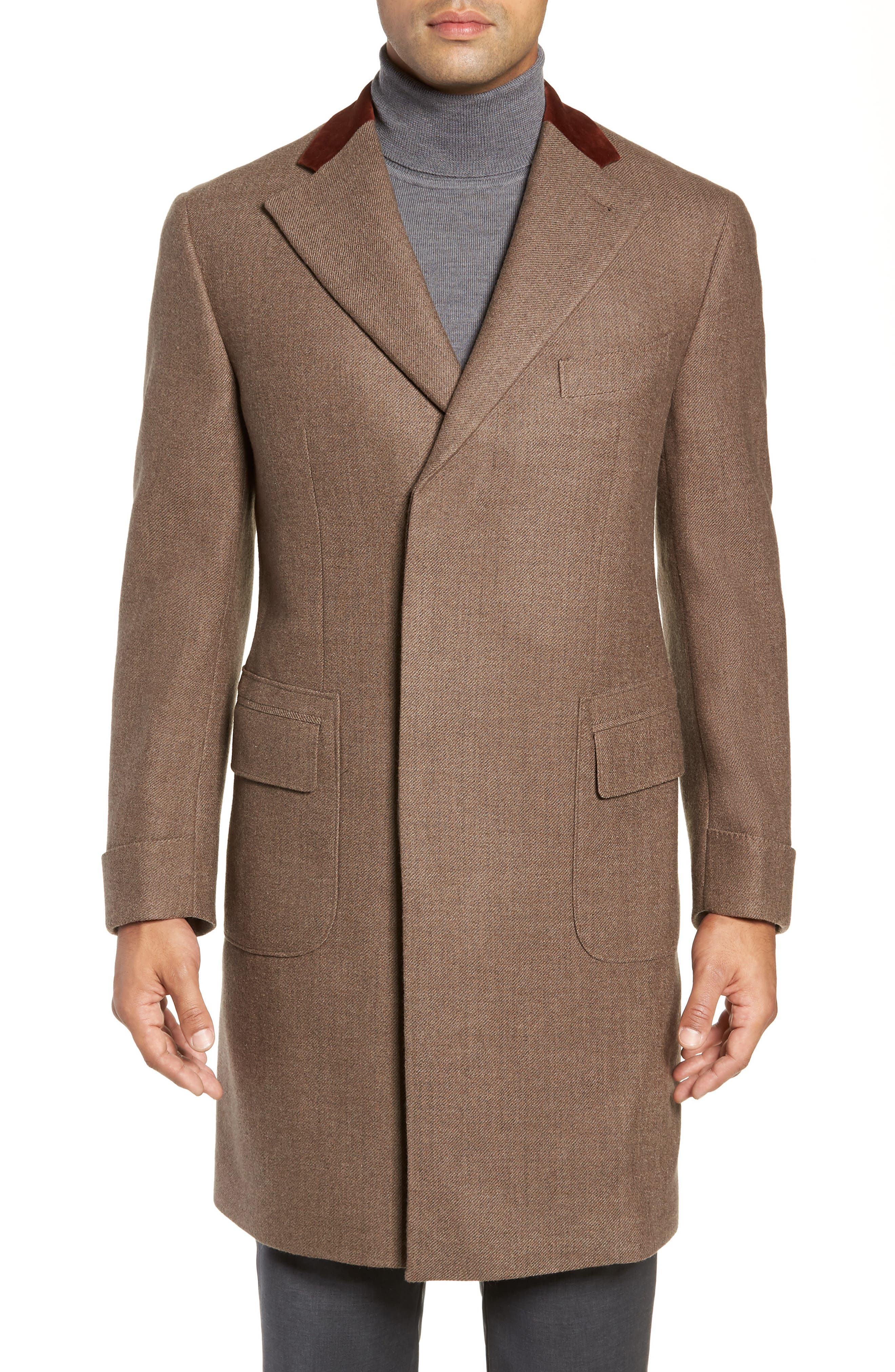 Trim Fit Wool Chesterfield Coat,                         Main,                         color, TAN