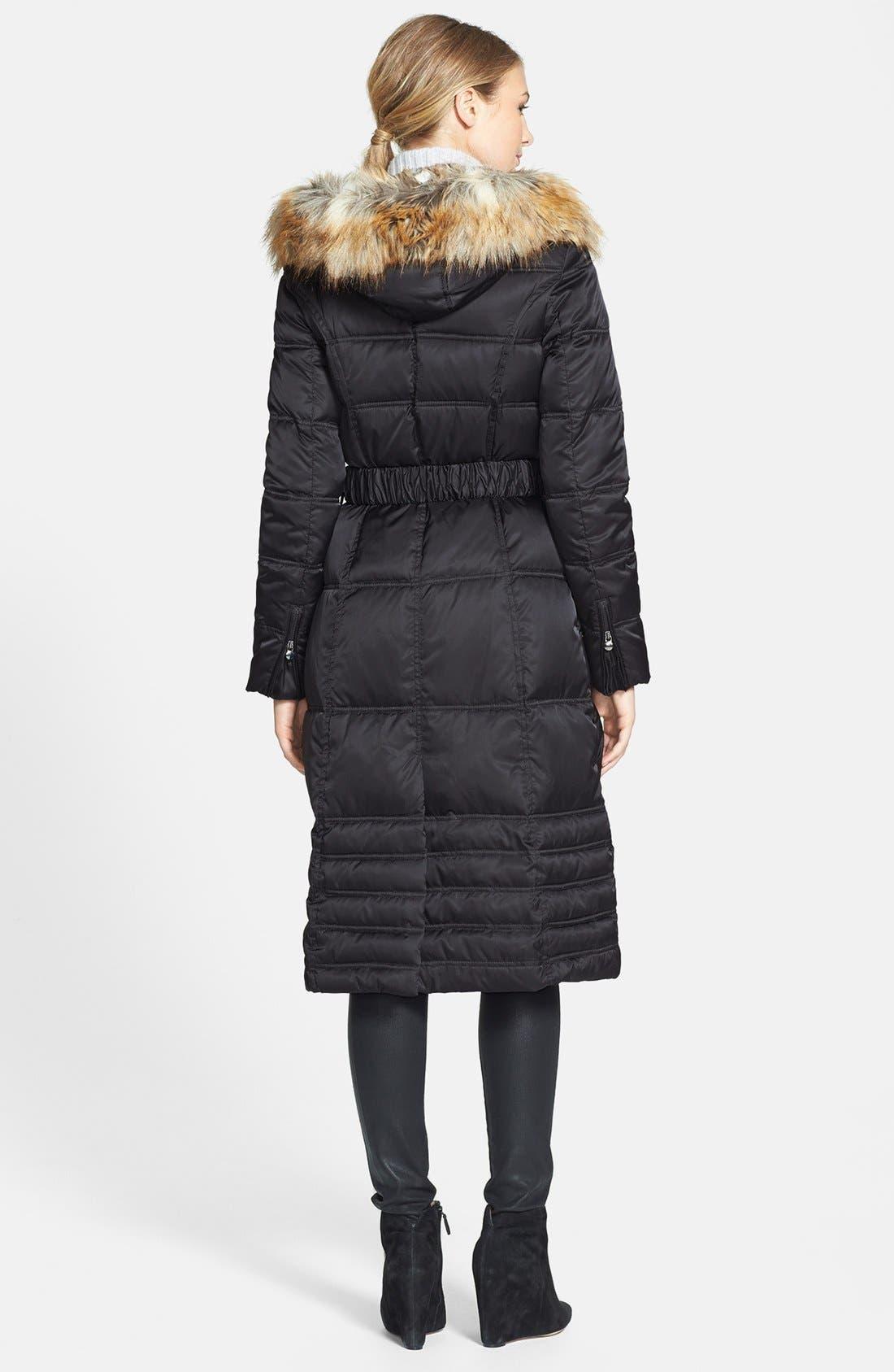 Faux Fur Trim Puffer Coat,                             Alternate thumbnail 3, color,                             001