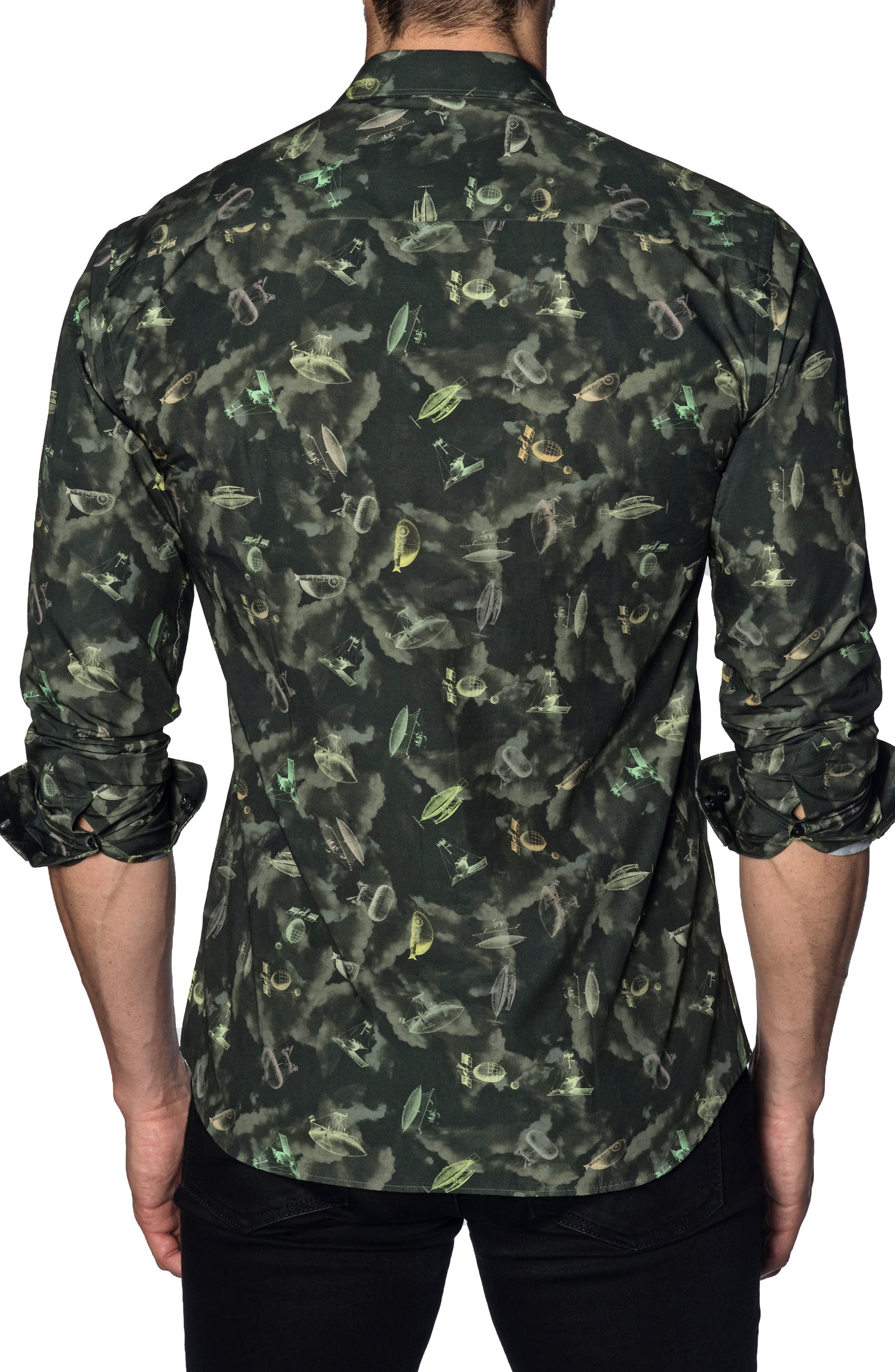 Trim Fit Sport Shirt,                             Alternate thumbnail 2, color,                             GREEN ARMY PRINT