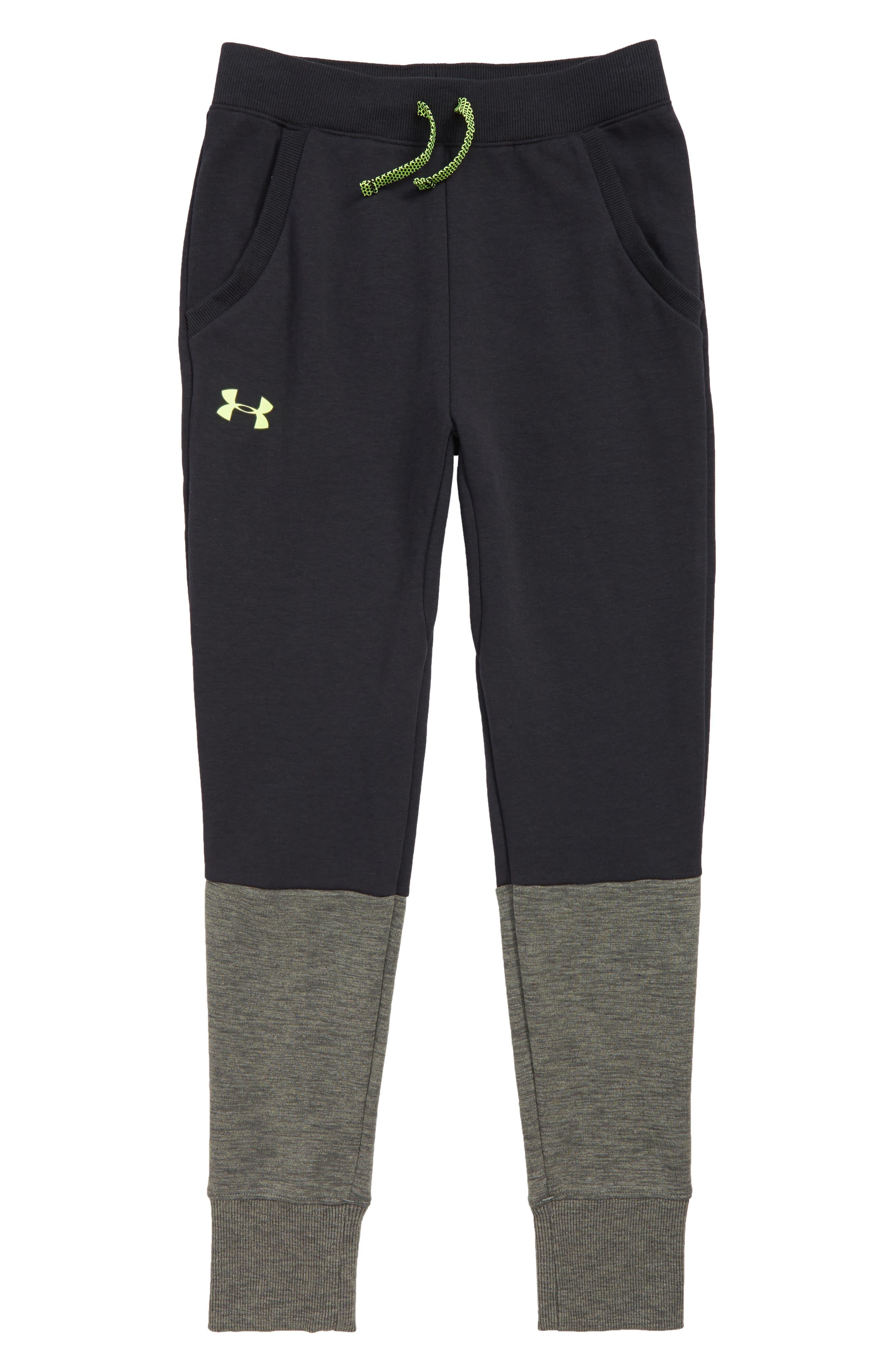 Double Knit Sweatpants,                             Main thumbnail 1, color,                             BLACK/ YELLOW